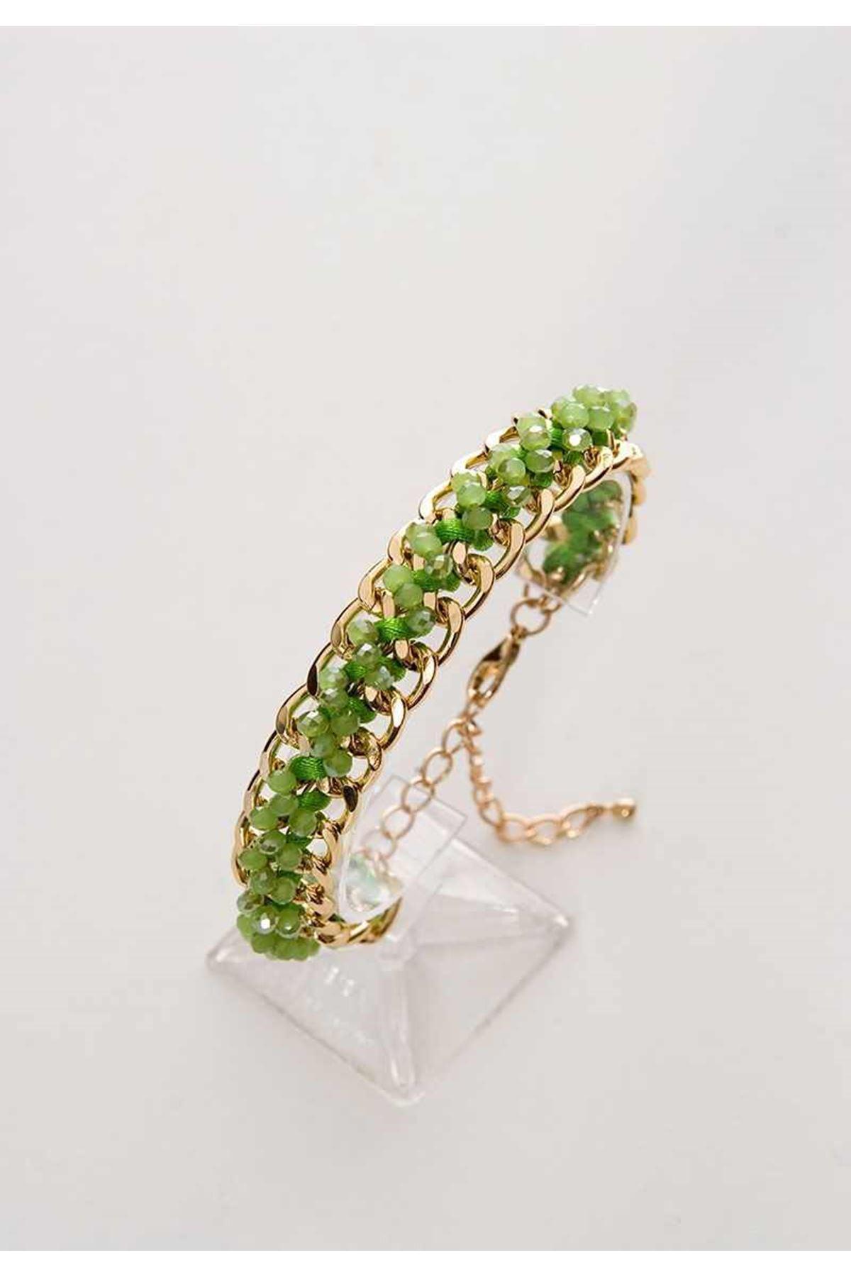 Yeşil Taşlı Zincir Bileklik 4Ç-98752