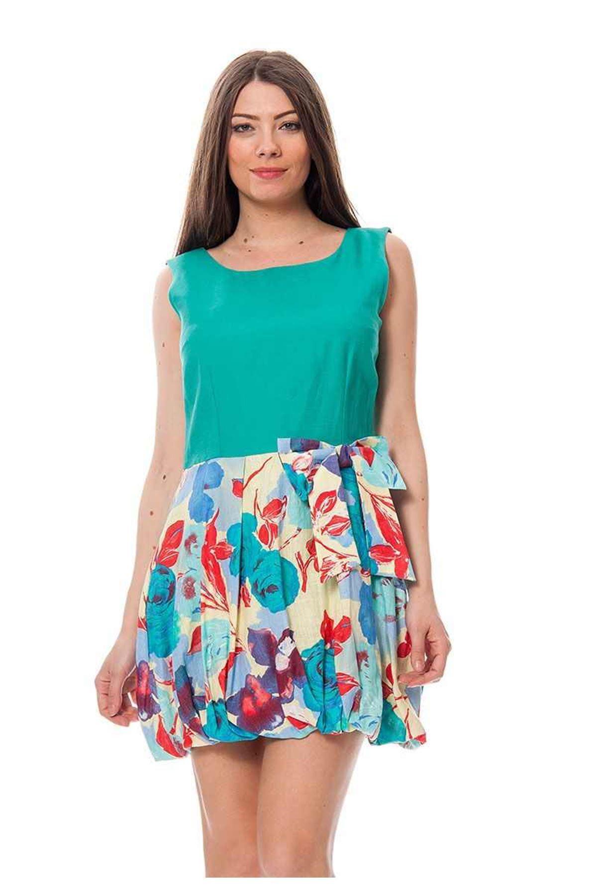 Yeşil Desenli  Elbise F10-115908