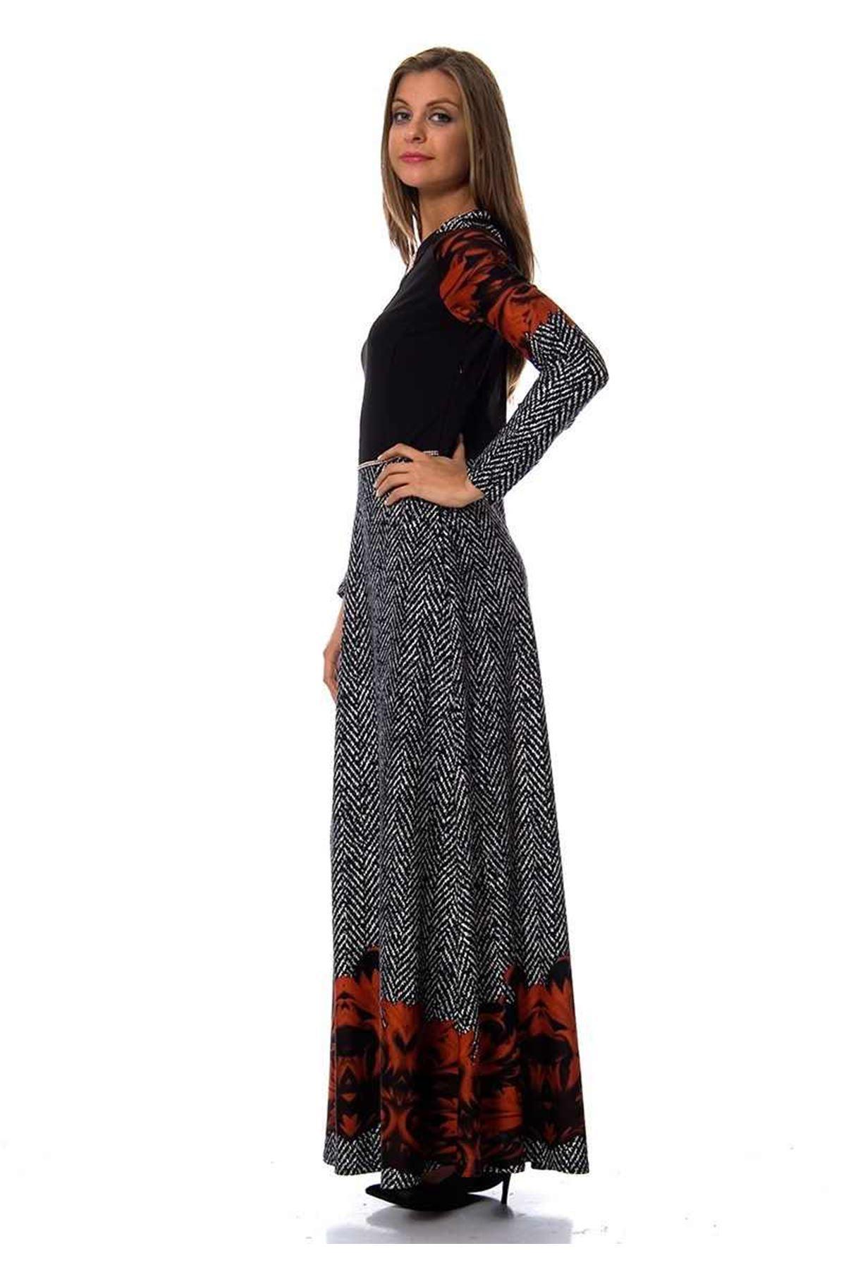 Yaka Kısmı Taşlı Elbise G1-95202
