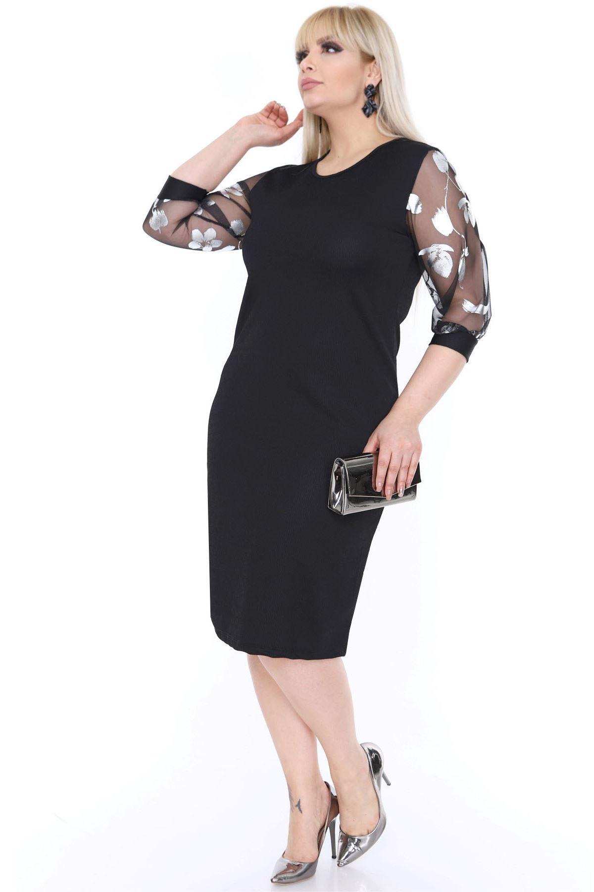 Tül Kol Gümüş Siyah Elbise 16C-0455