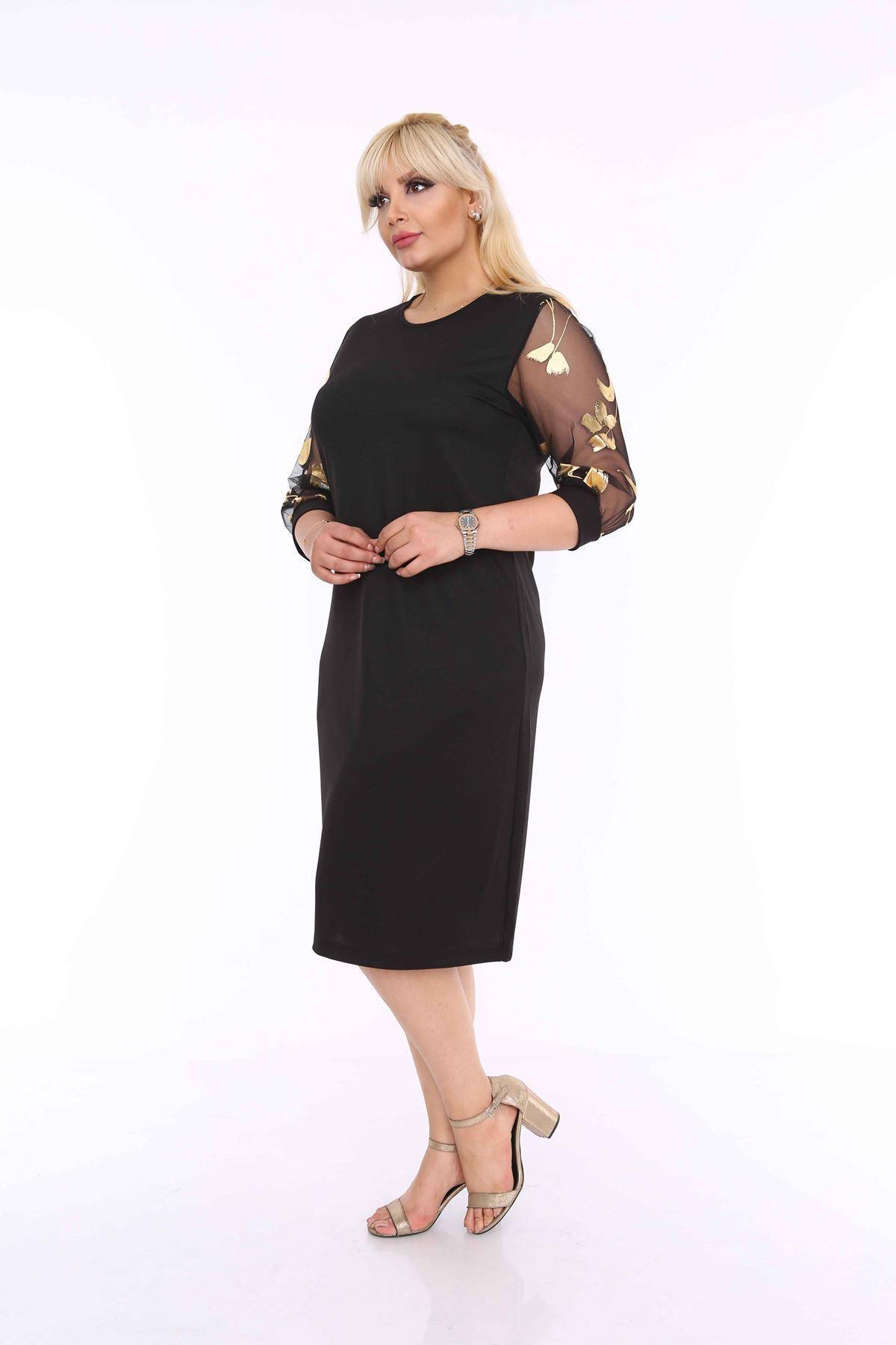Varaklı Siyah Elbise 4E-69955