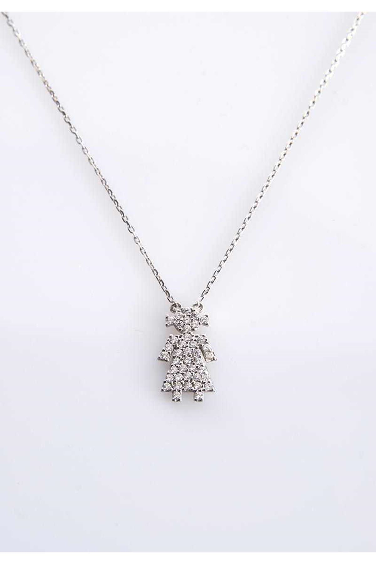 Taşlı Kız Gümüş Kolye Gk-77400