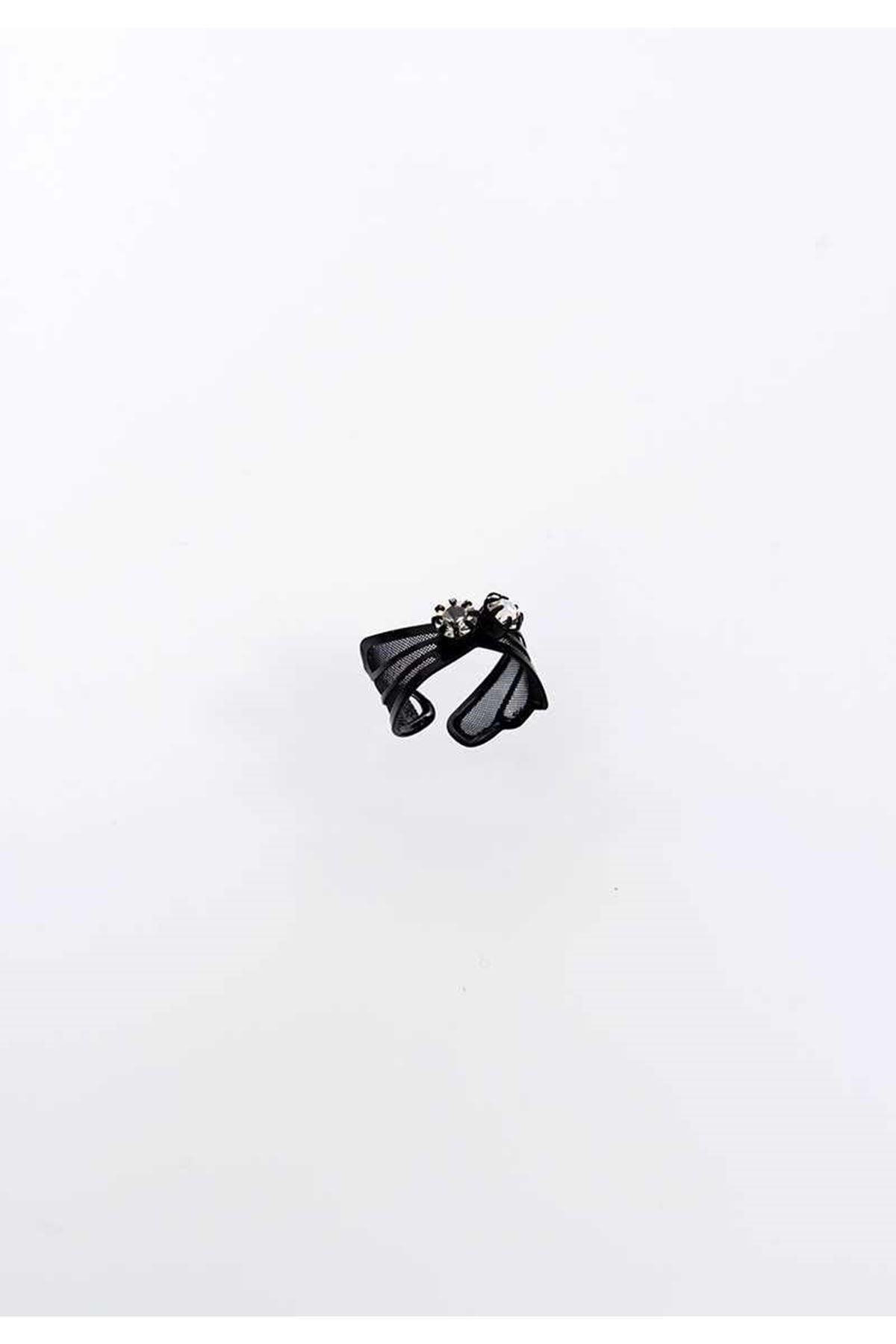Siyah Taşlı Ayarlanabilir Eklem Yüzüğü 1Ç-104886