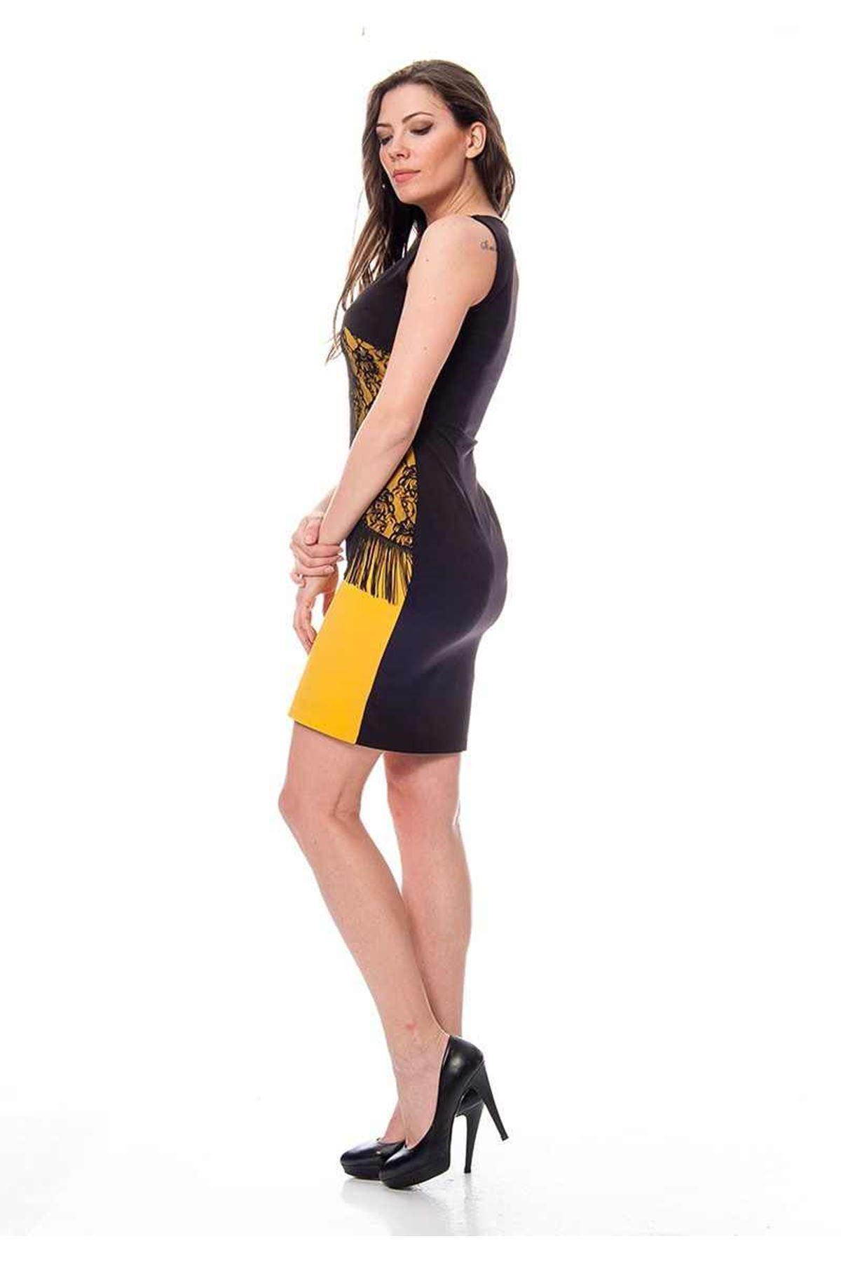 Siyah Püsküllü Elbise G6-115314
