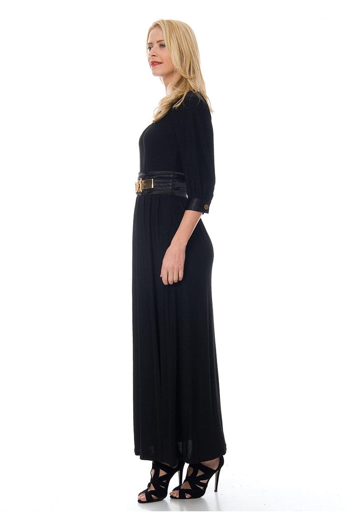 Siyah Şık Kemerli Elbise F1-103856
