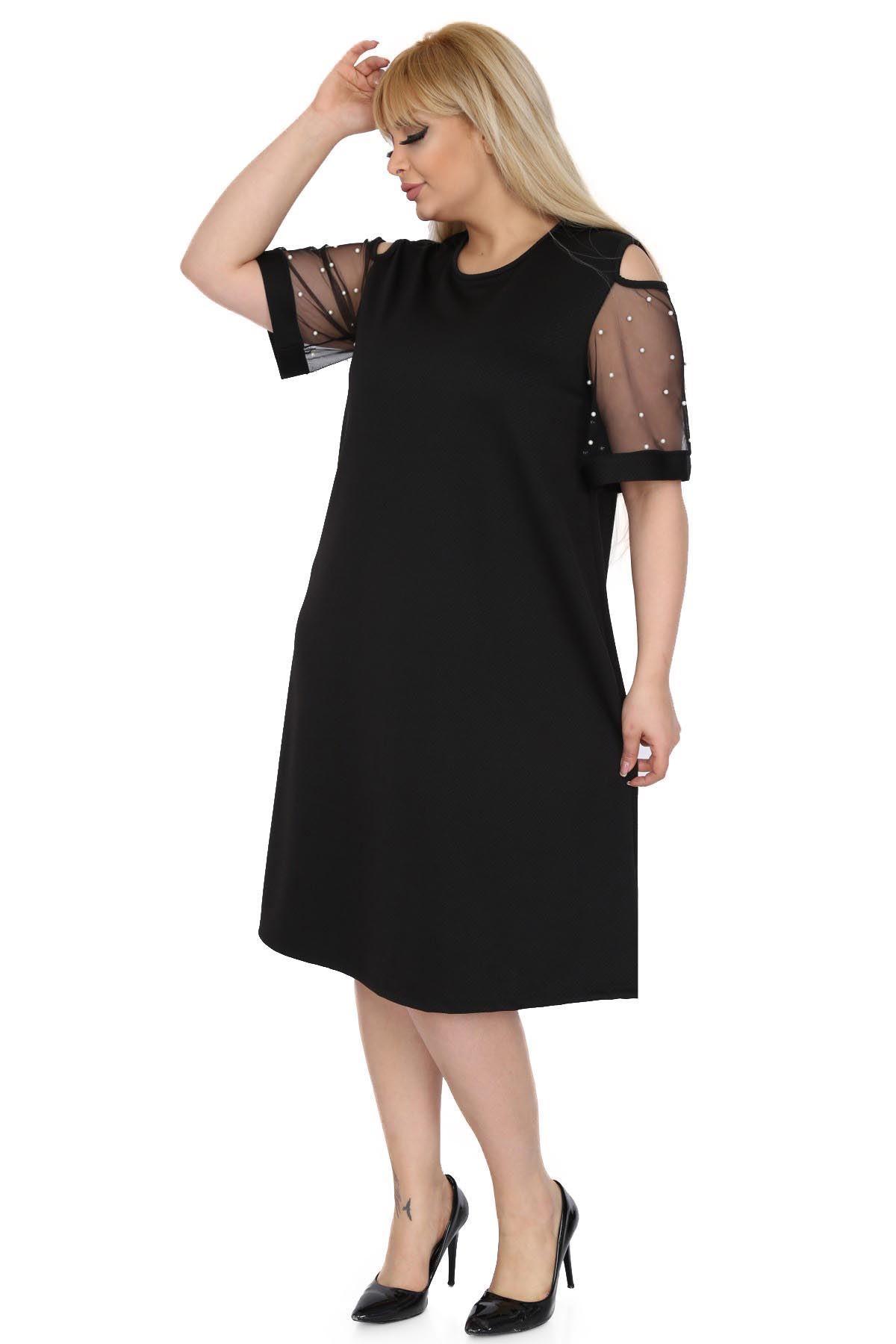 Siyah Kol İncili Elbise 9C-0515