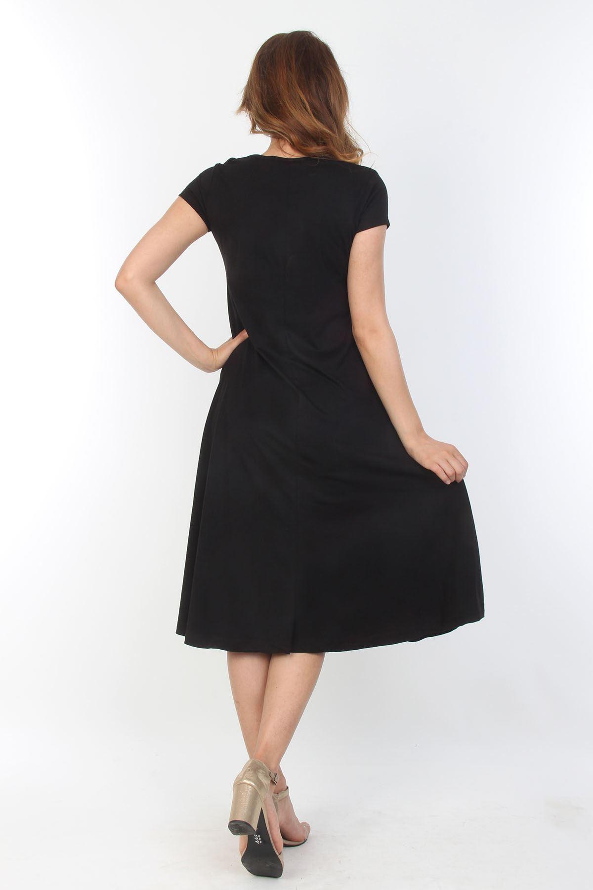 Siyah Kloş Elbise 6A-0626