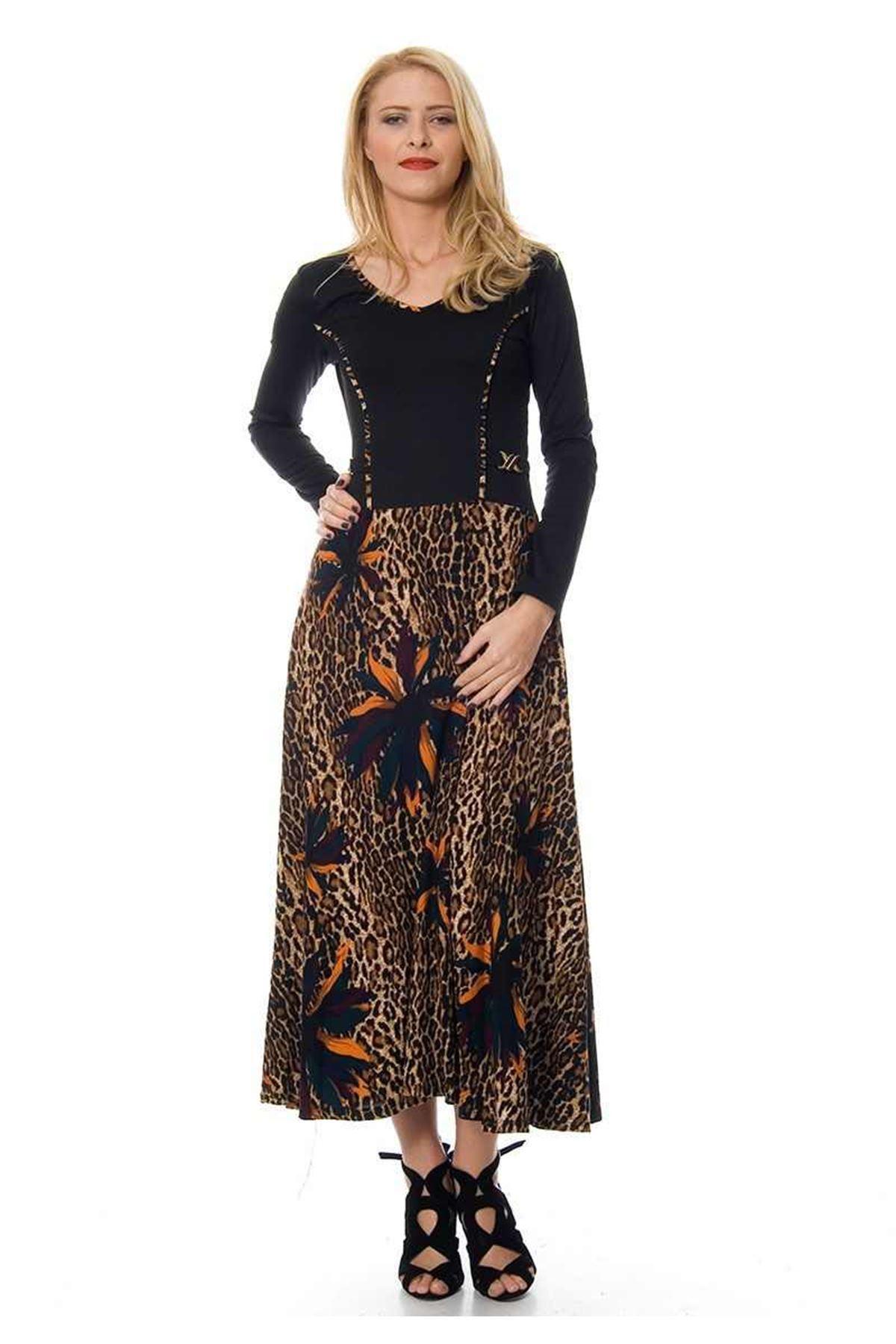 Siyah Leopar Desenli Elbise F1-103871