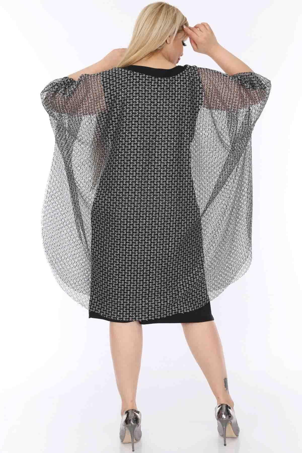 Siyah Gümüş Abiye Elbise 7D-0493