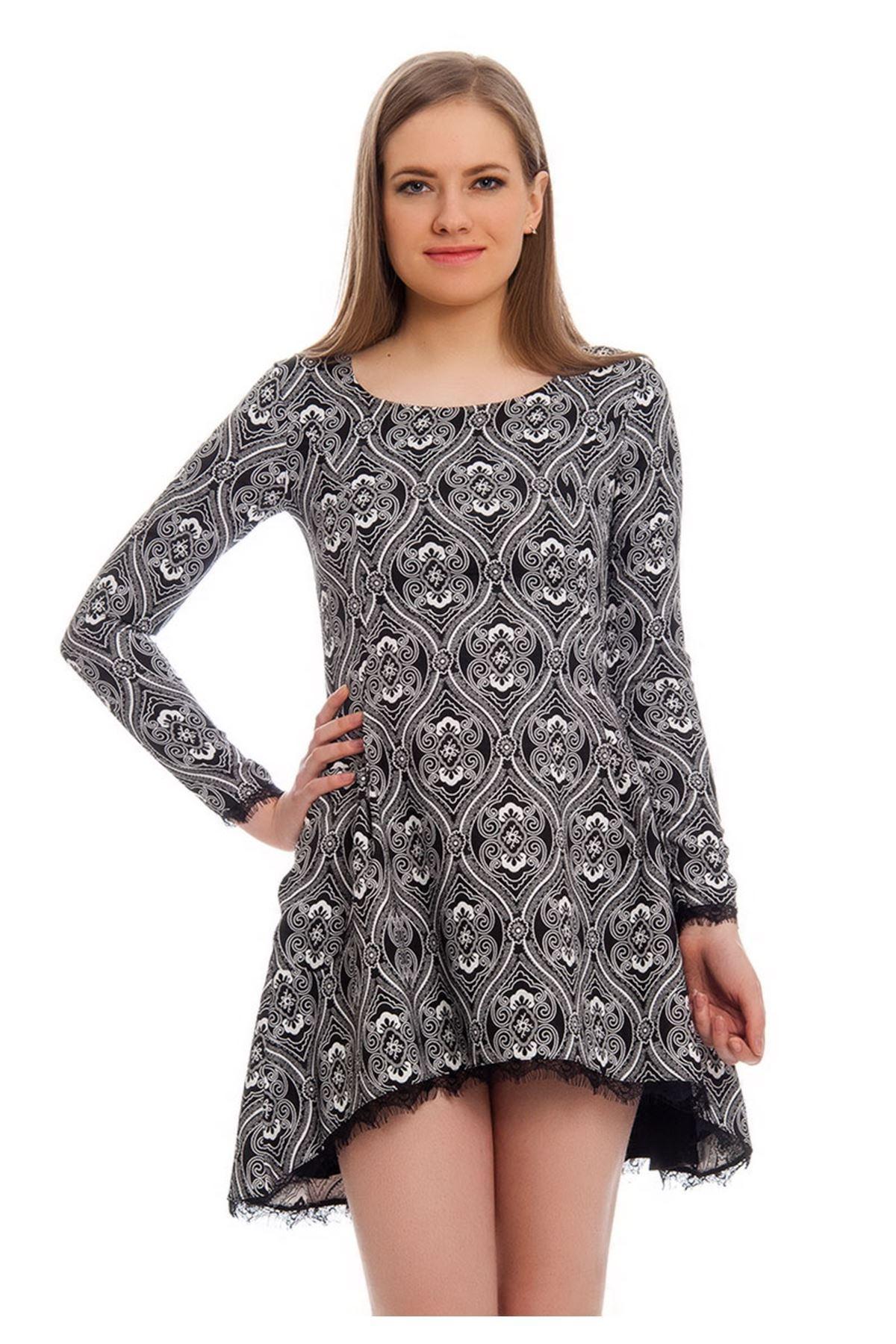 Siyah Desenli Dantel Detaylı Kadın Elbise J5-121971