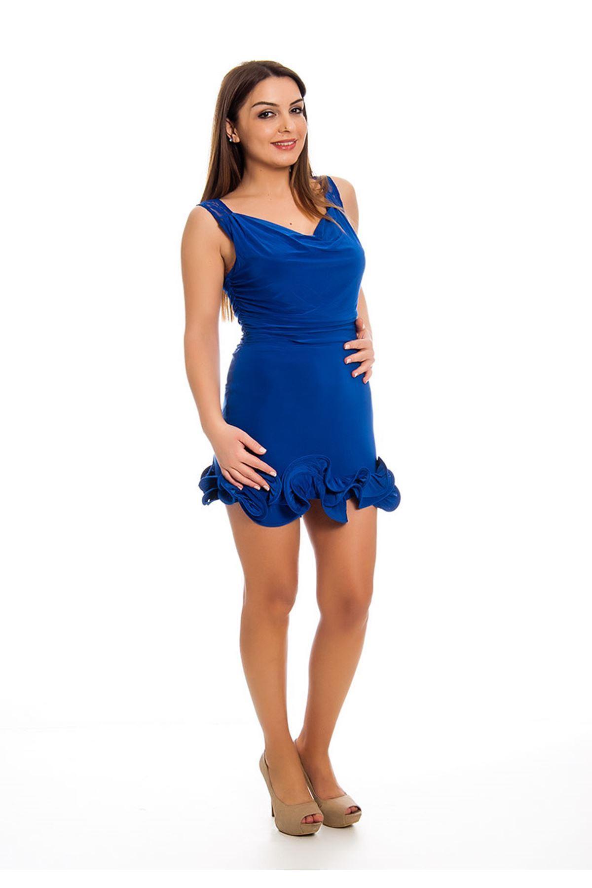 Saks Mavisi Fırfırlı Abiye Elbise I12-124153