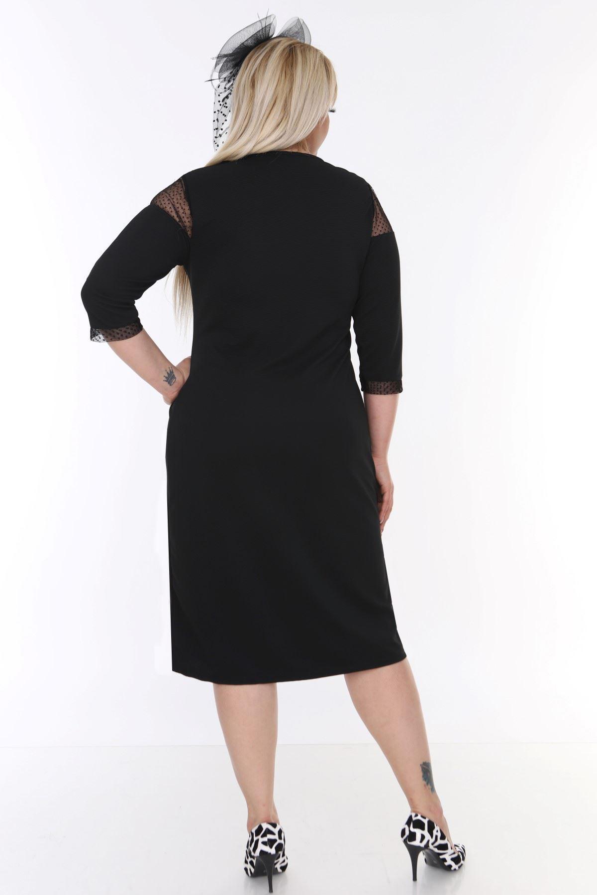 Roba Manşet Tüllü Elbise 16E-0473