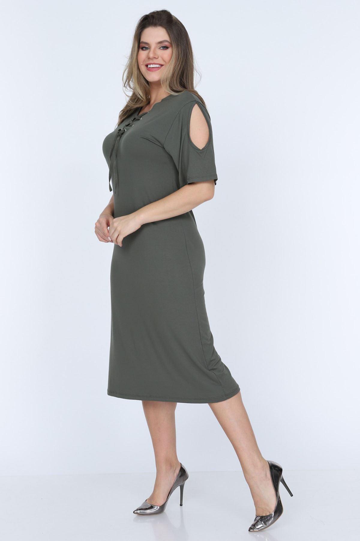 Omuzu Açık Yaka Bağcıklı Elbise 4D-0625