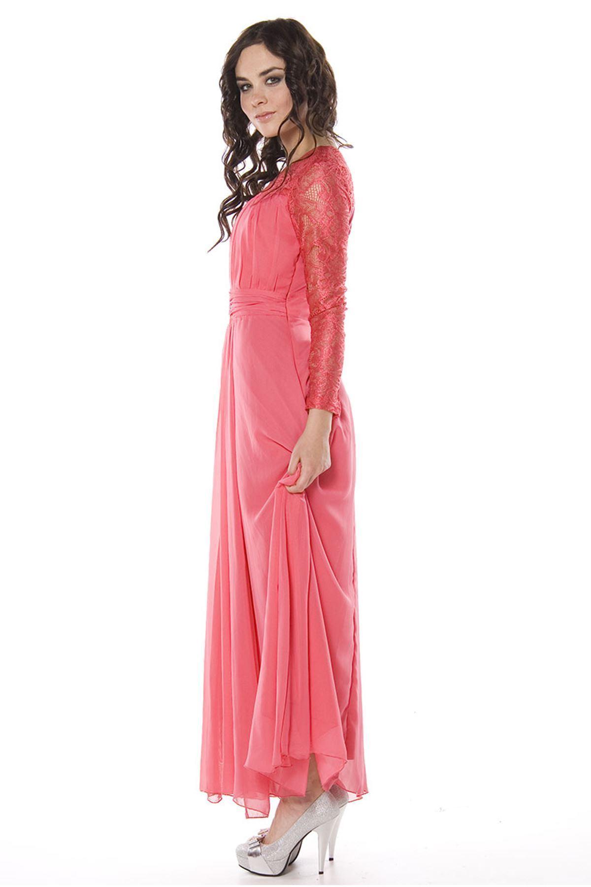 Narçiçeği Dantelli Uzun Elbise I8-82325