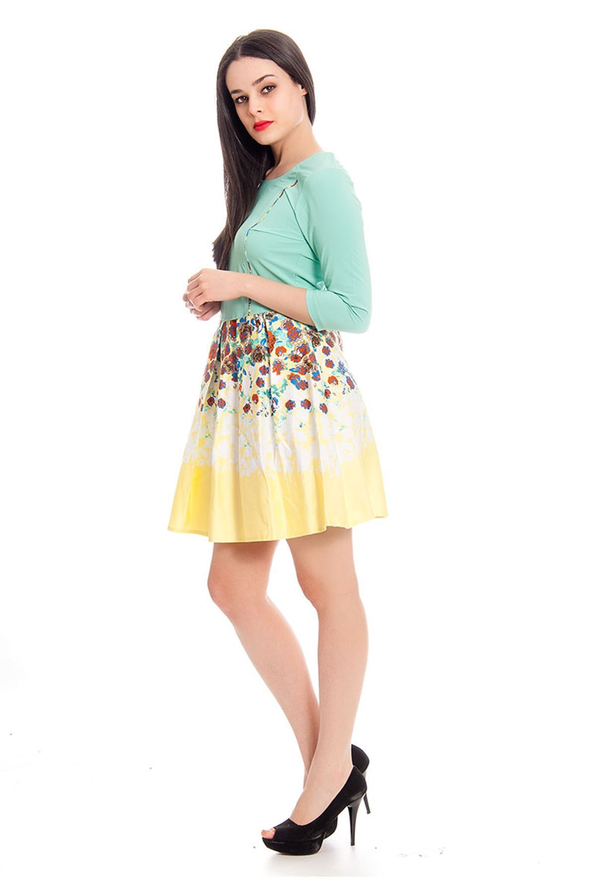 Mint Yeşili Çiçek Desenli Kadın Elbise J11-130282