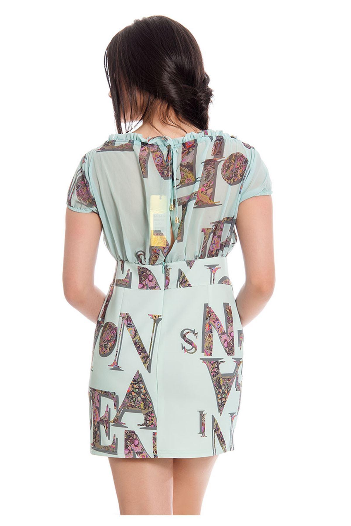 Mint Yeşil Desenli Kadın Elbise F11-130098