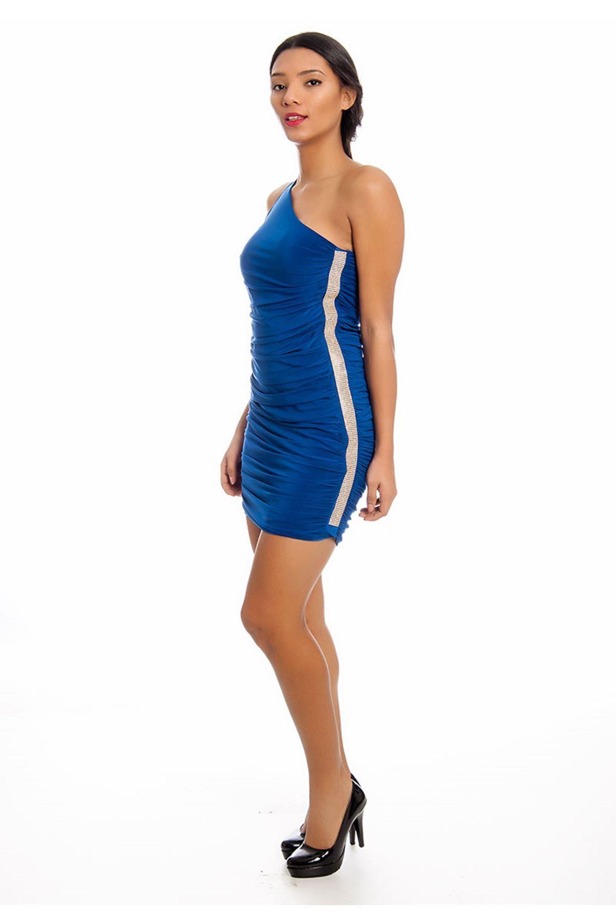 Mavi Tek Kol Taşlı Abiye Elbise G2-125599