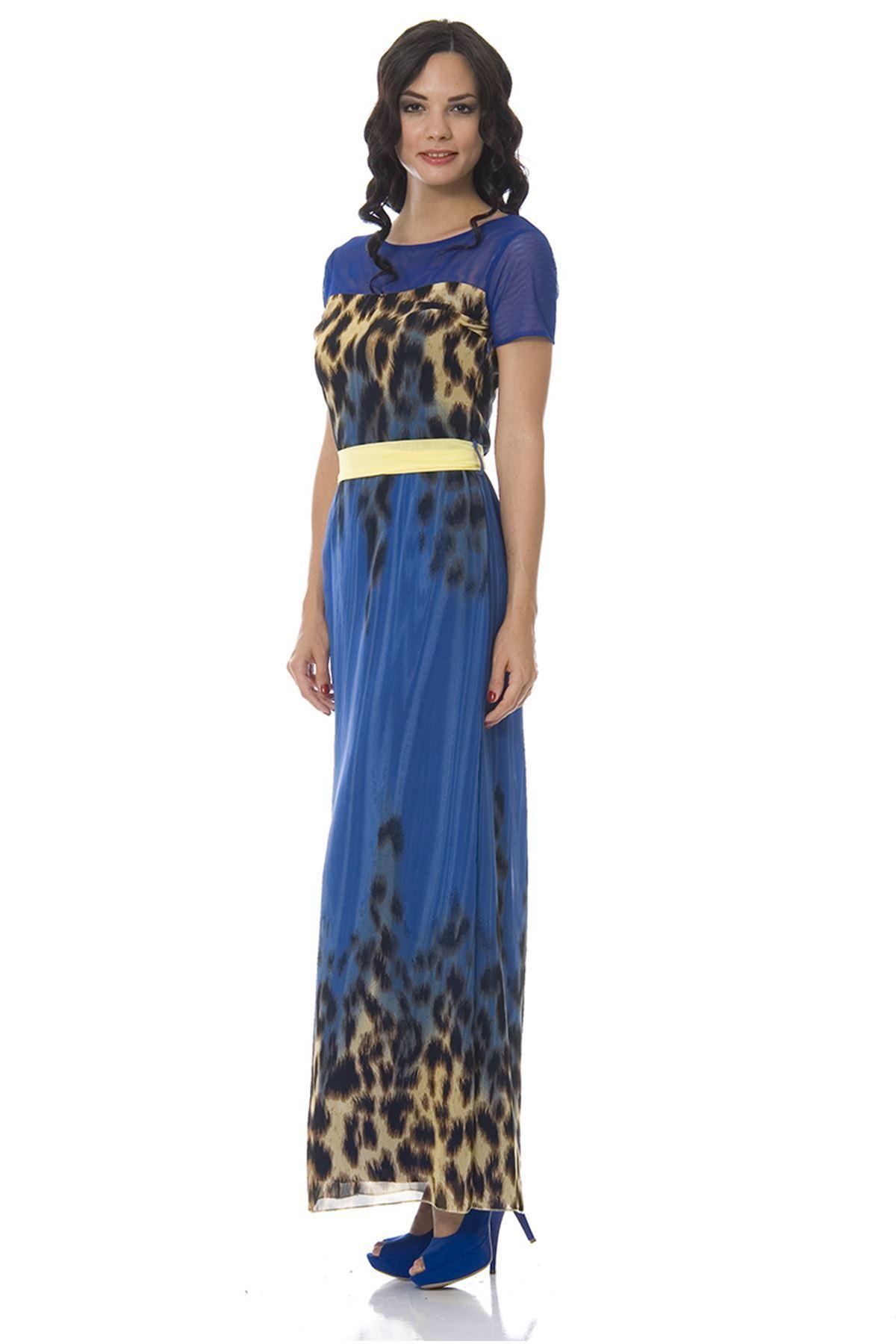 Mavi Desenli Elbise G9-84228