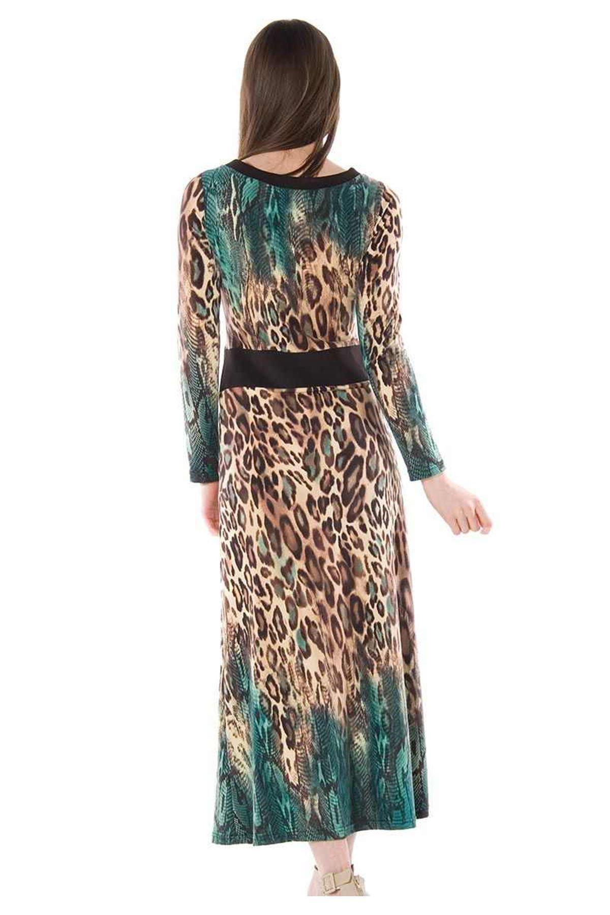 Leopar Desenli Uzun Elbise G1-67337