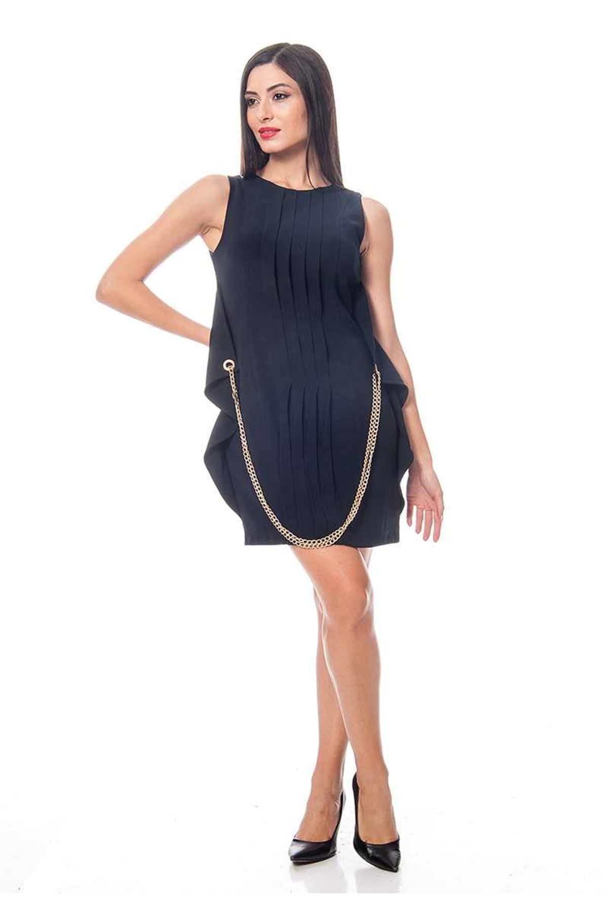 Lacivert Zincir Detaylı Kadın Elbise J5-118403