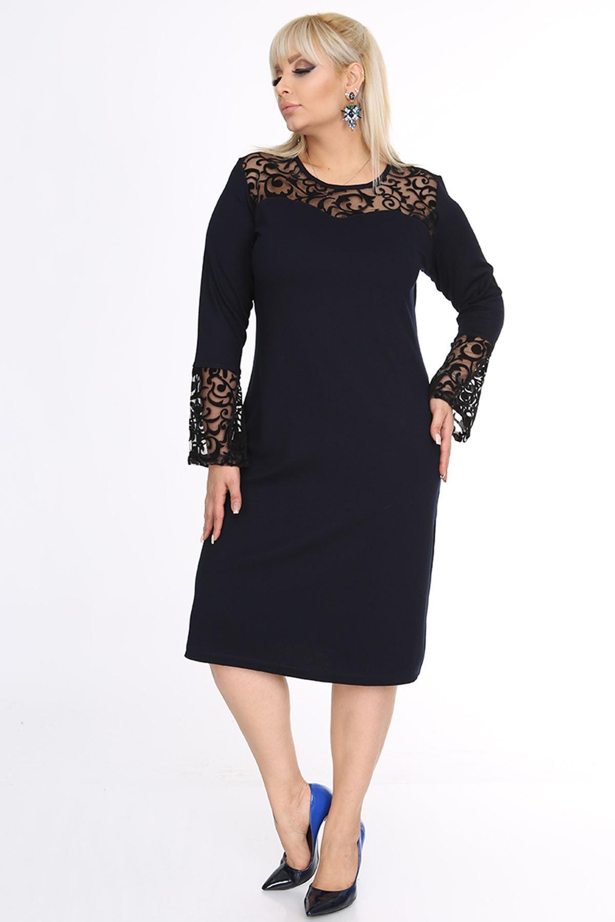 Lacivert İspanyol Kol Elbise 18A-0693