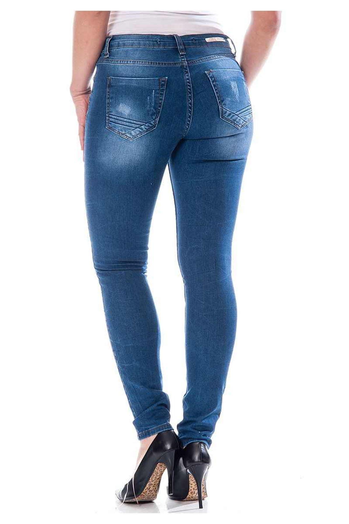 Lacivert Kadın Kot Pantolon 5A-110817