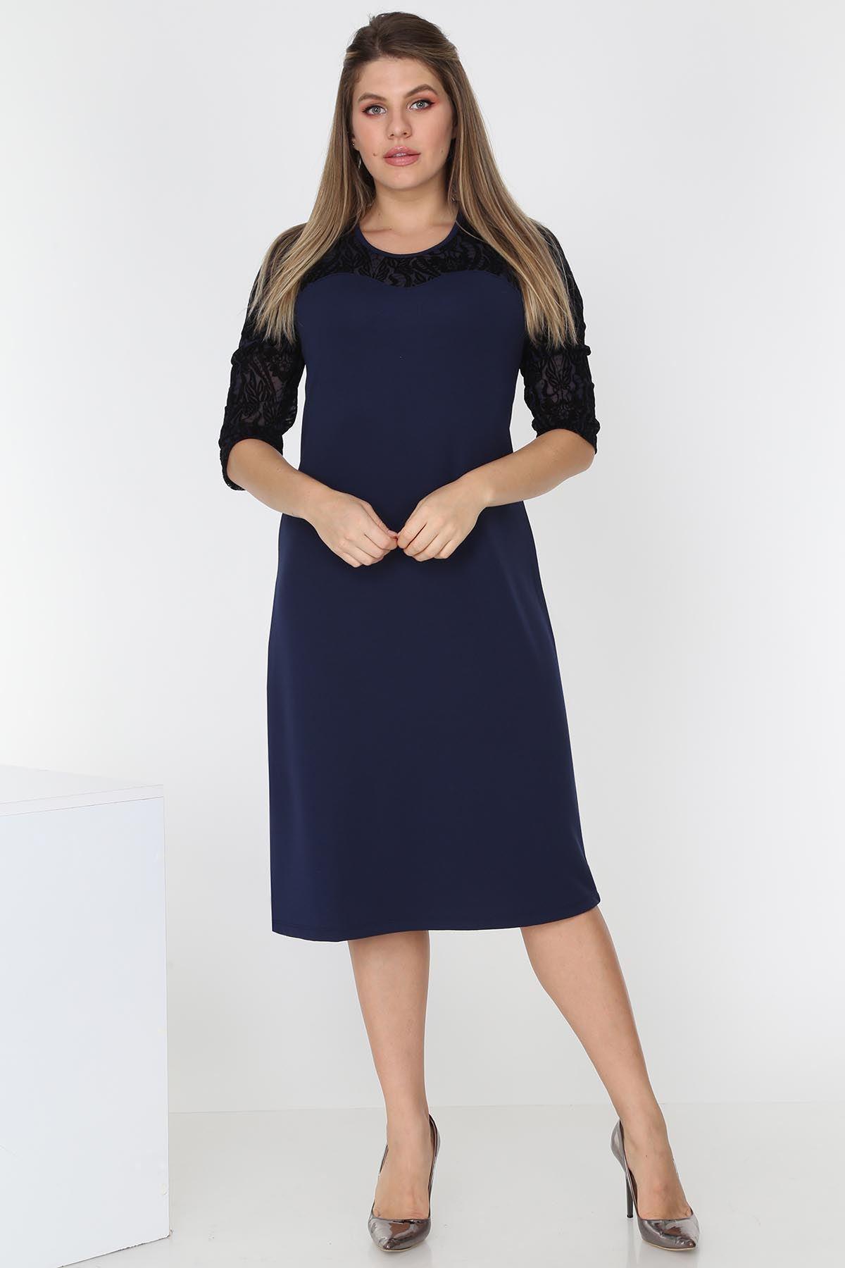 Lacivert Flok Baskılı Elbise 18D-0535