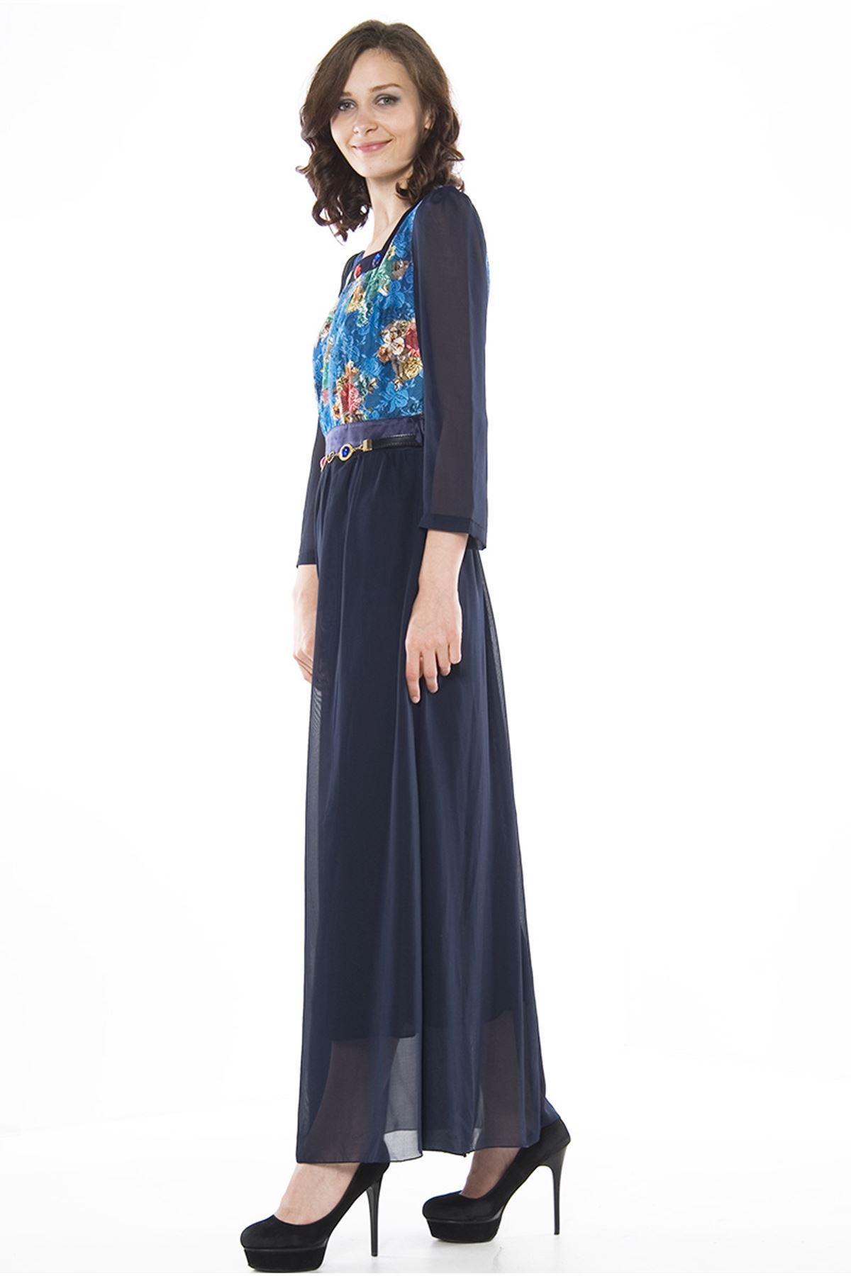 Lacivert Desenli Elbise H1-75703