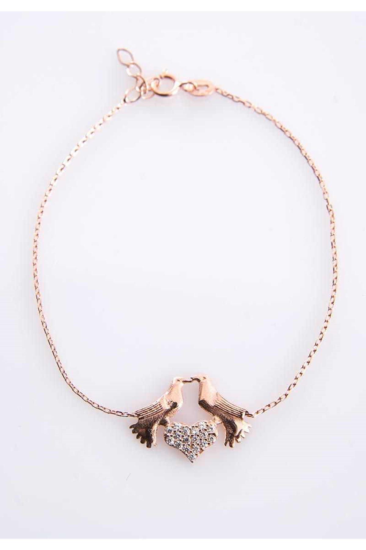Kuş Figürlü Kalp Gümüş Bileklik G-77480