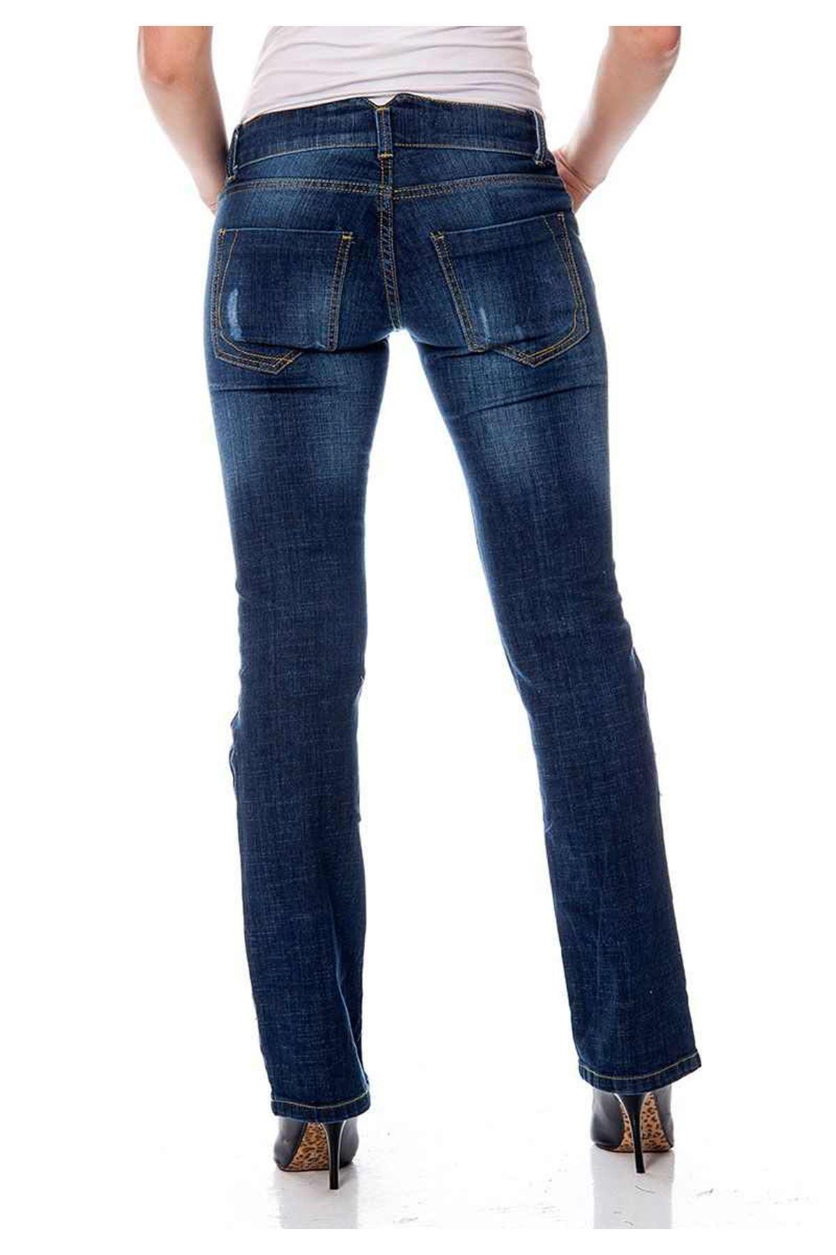 Koyu Mavi Yırtık Kadın Kot Pantolon 5A-111775