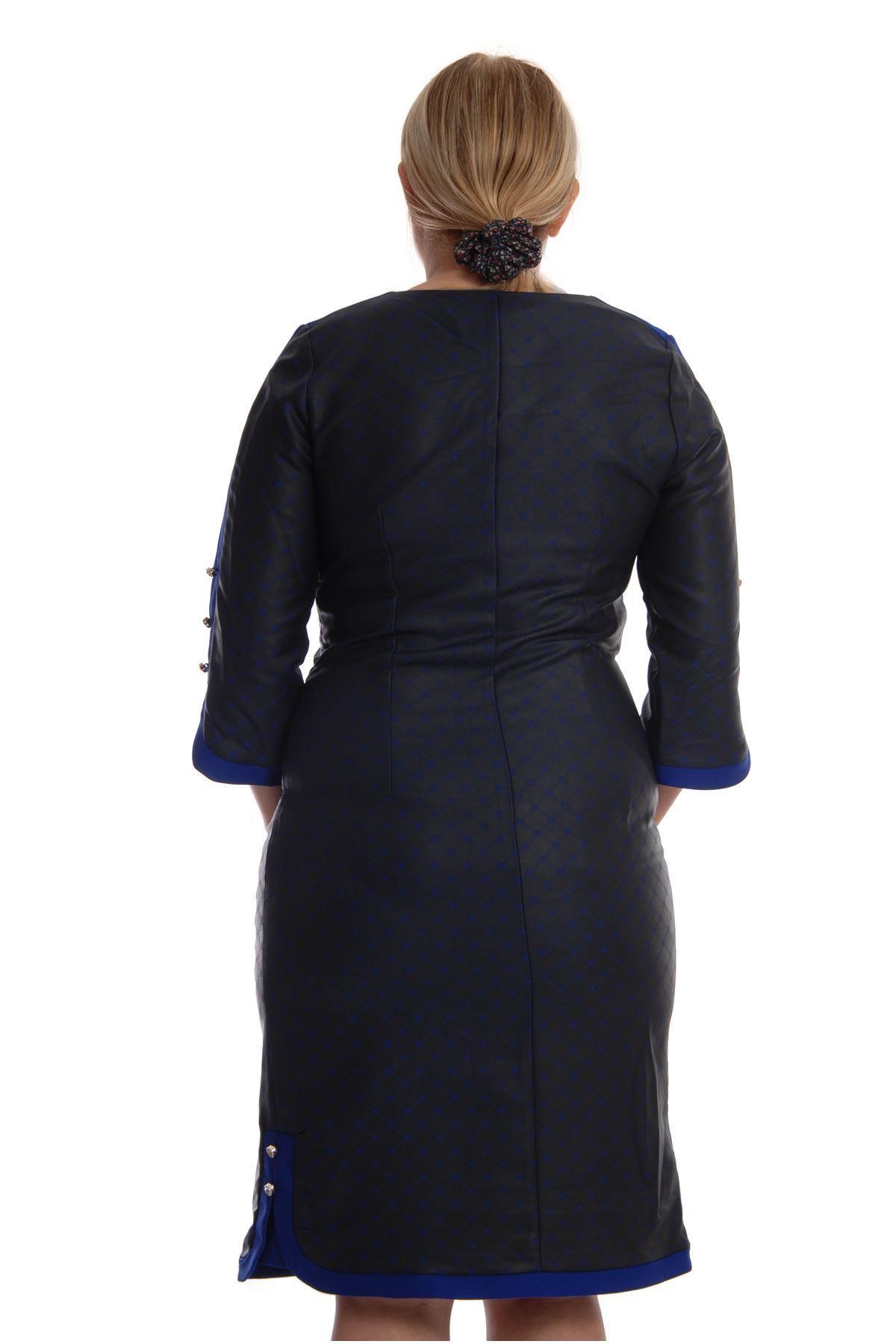 Koyu Desenli Elbise H1-68549