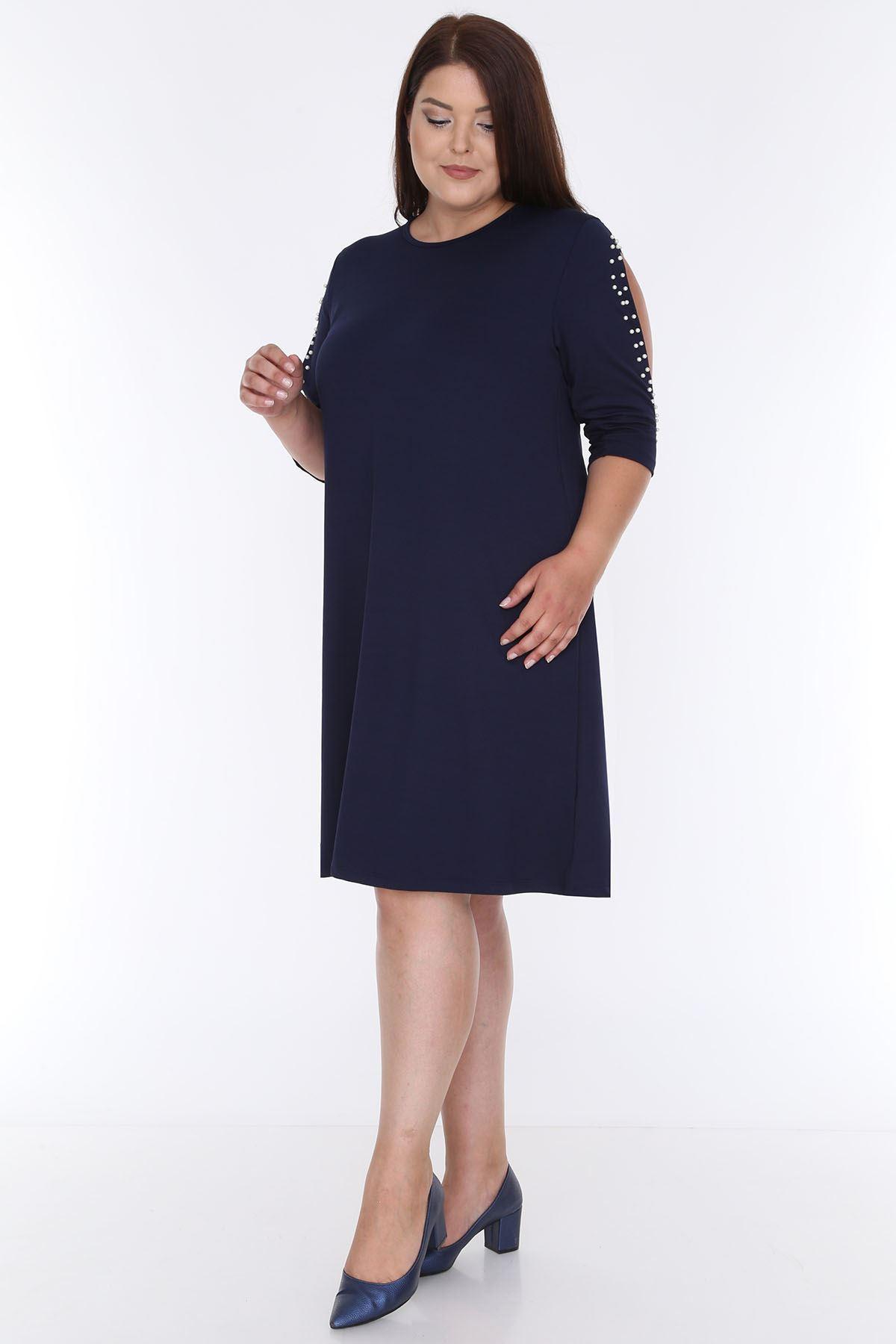 Kol İncili Lacivert Elbise 6E-0607