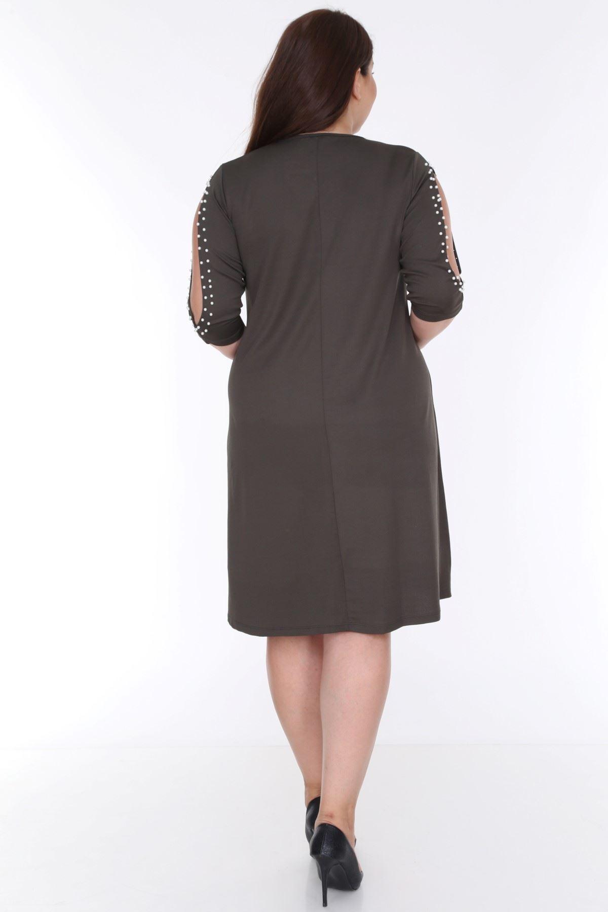 Kol incili Haki Elbise 9E-0612