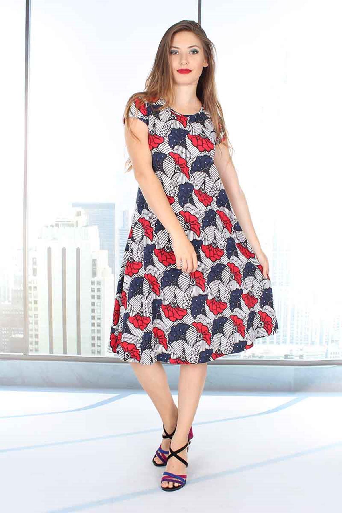 Kloş Desenli Elbise 5B-9836