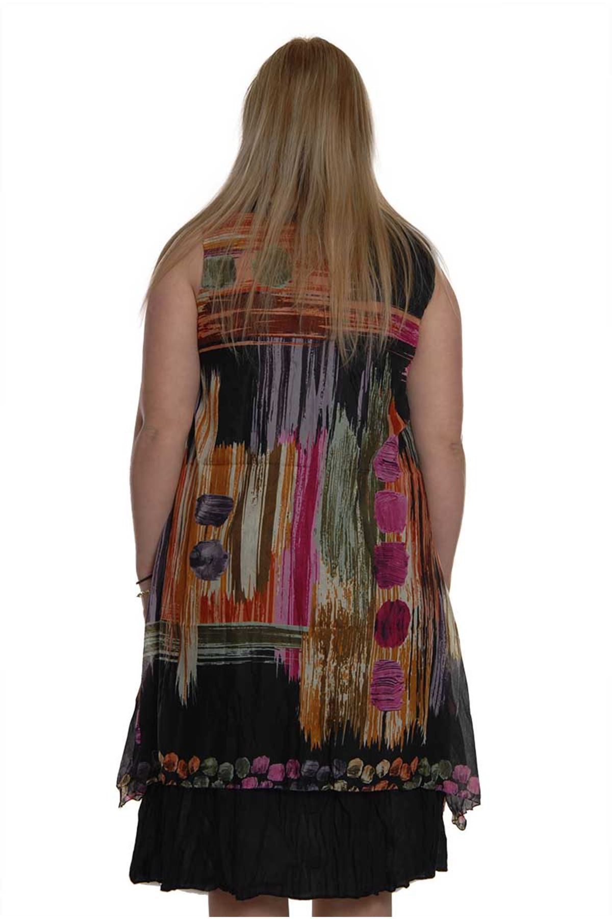 Kolsuz Büyük Beden Elbise 16B-1507