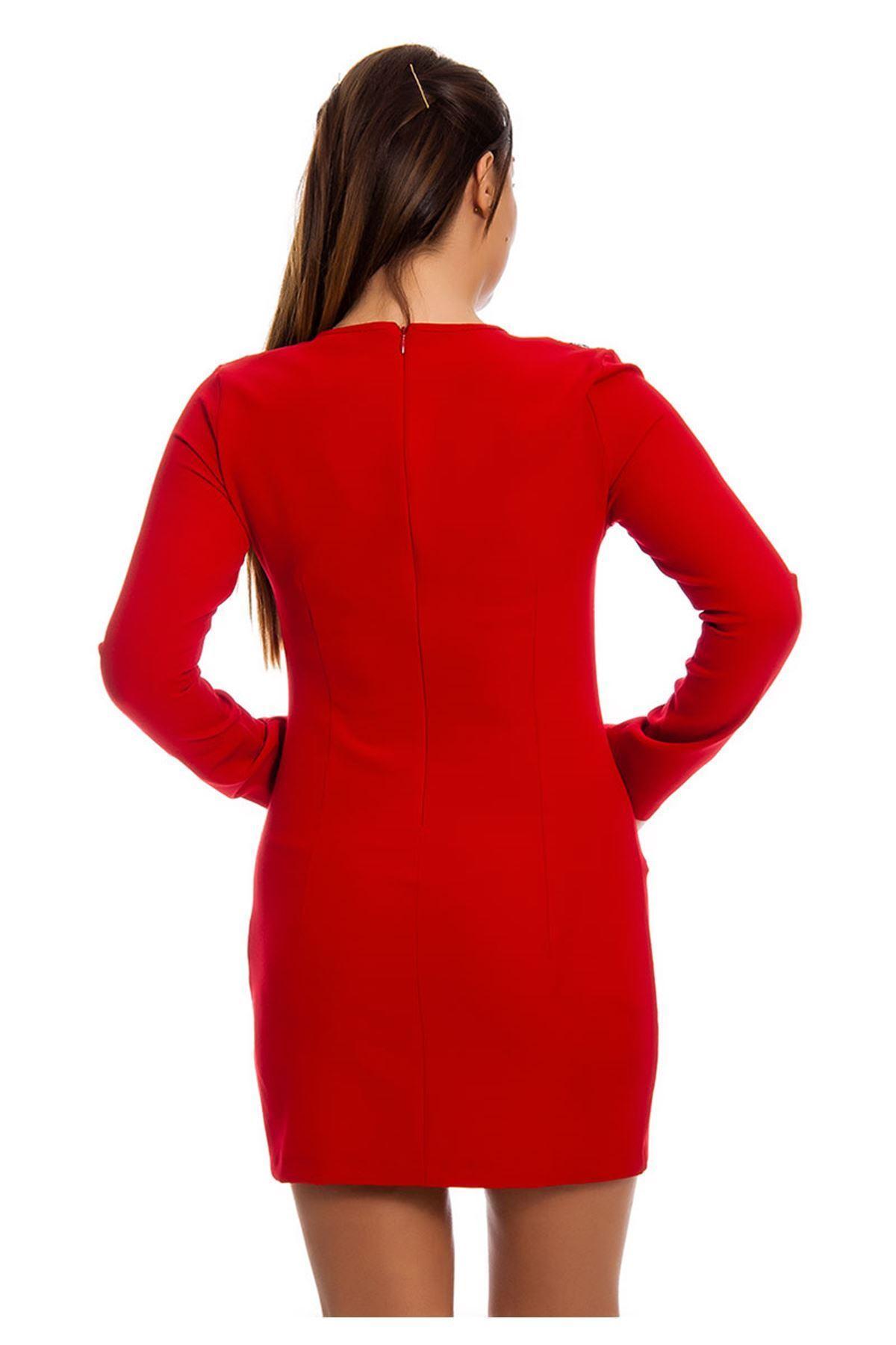Kırmızı Kadın Elbise F10-124136