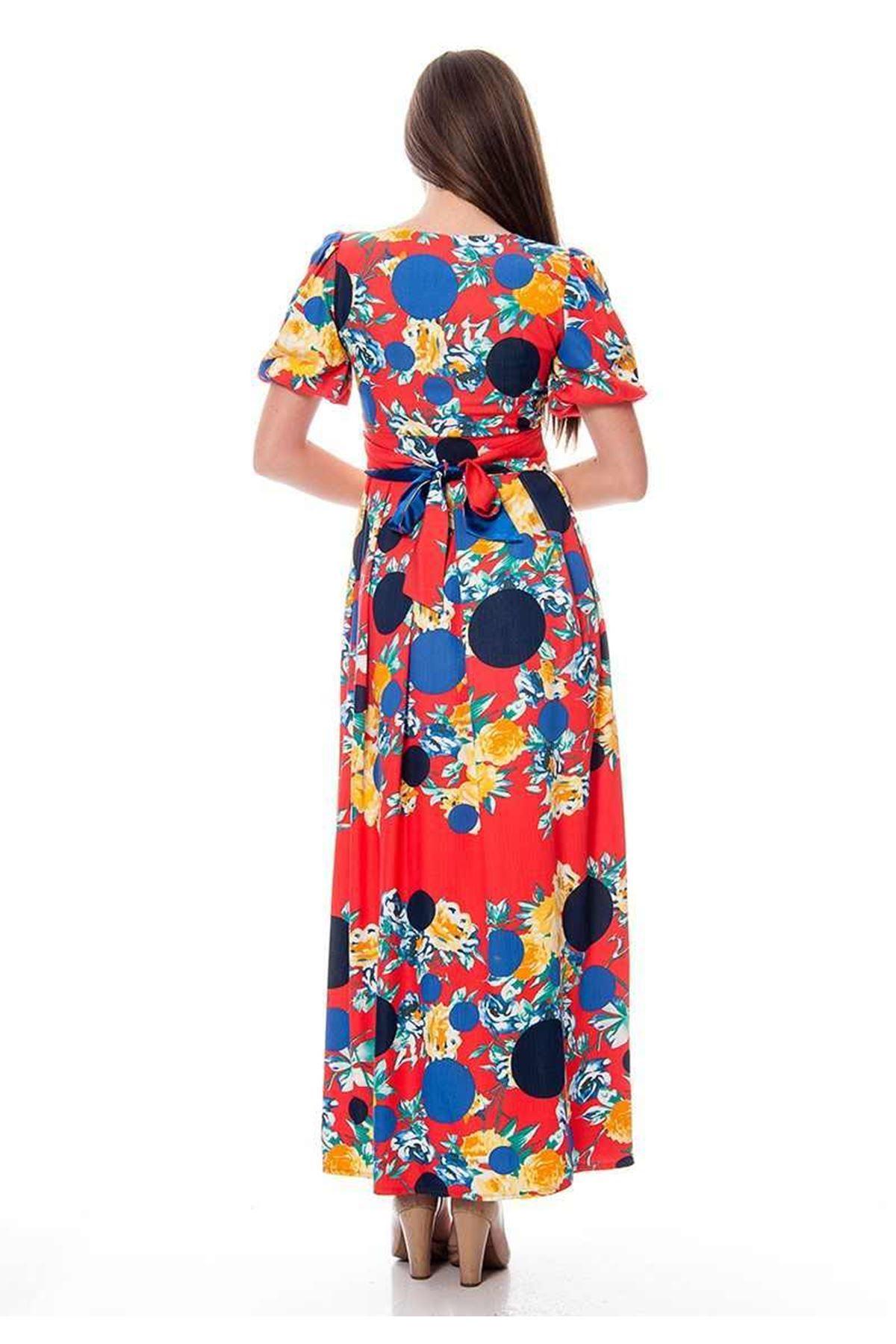 Kırmızı Desenli Elbise G1-115772
