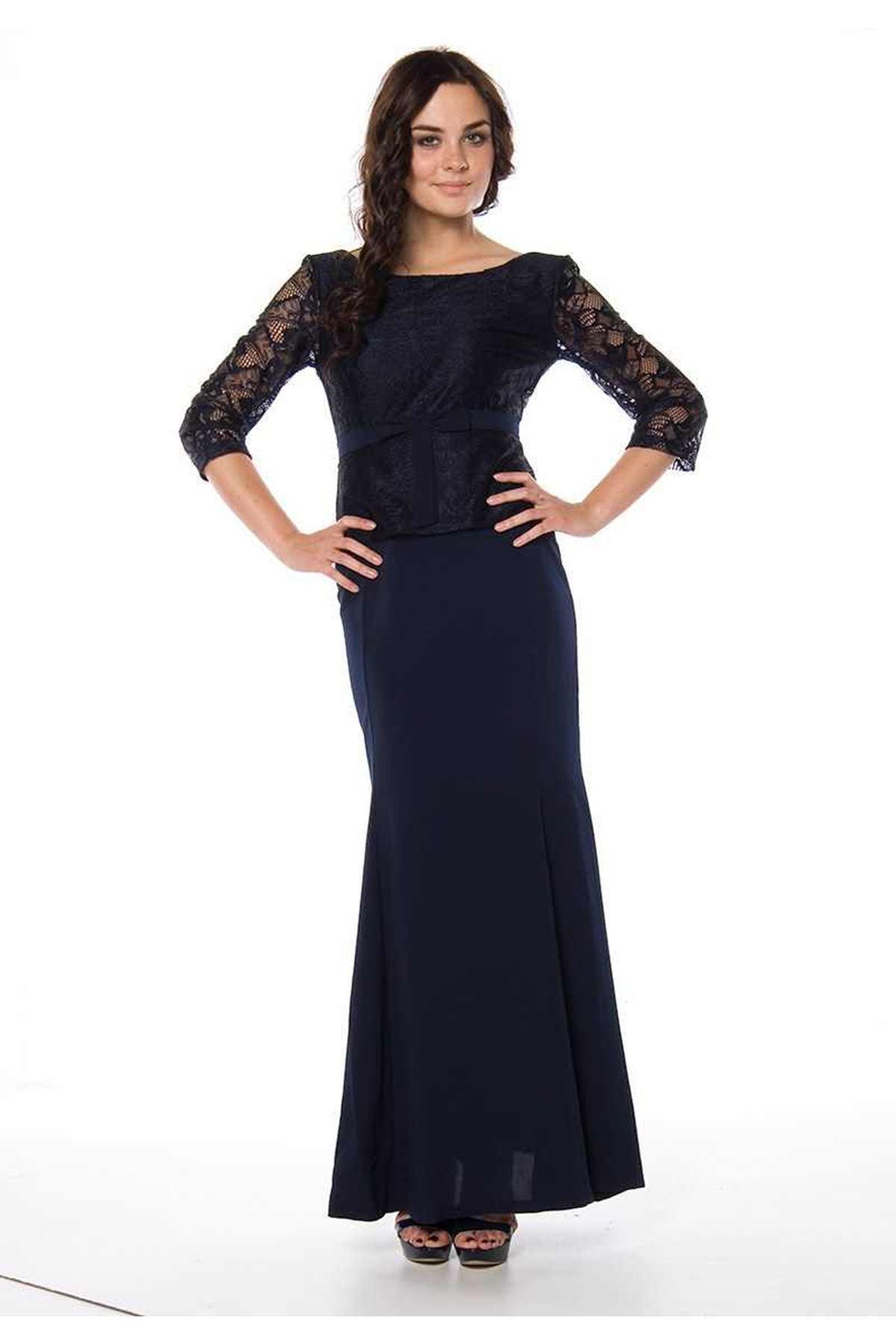 Kenn More Lacivert Dantelli Kadın Elbise G1-82755