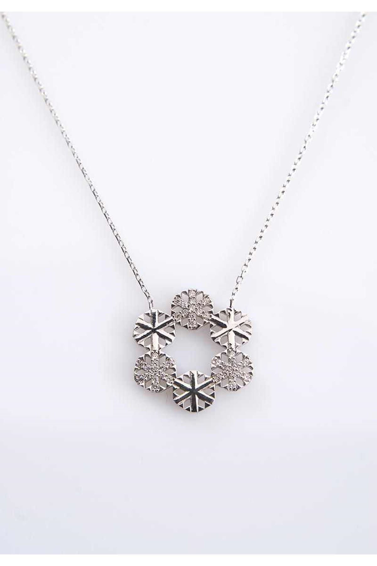 Kar Taneli Gümüş Kolye Gk-77415