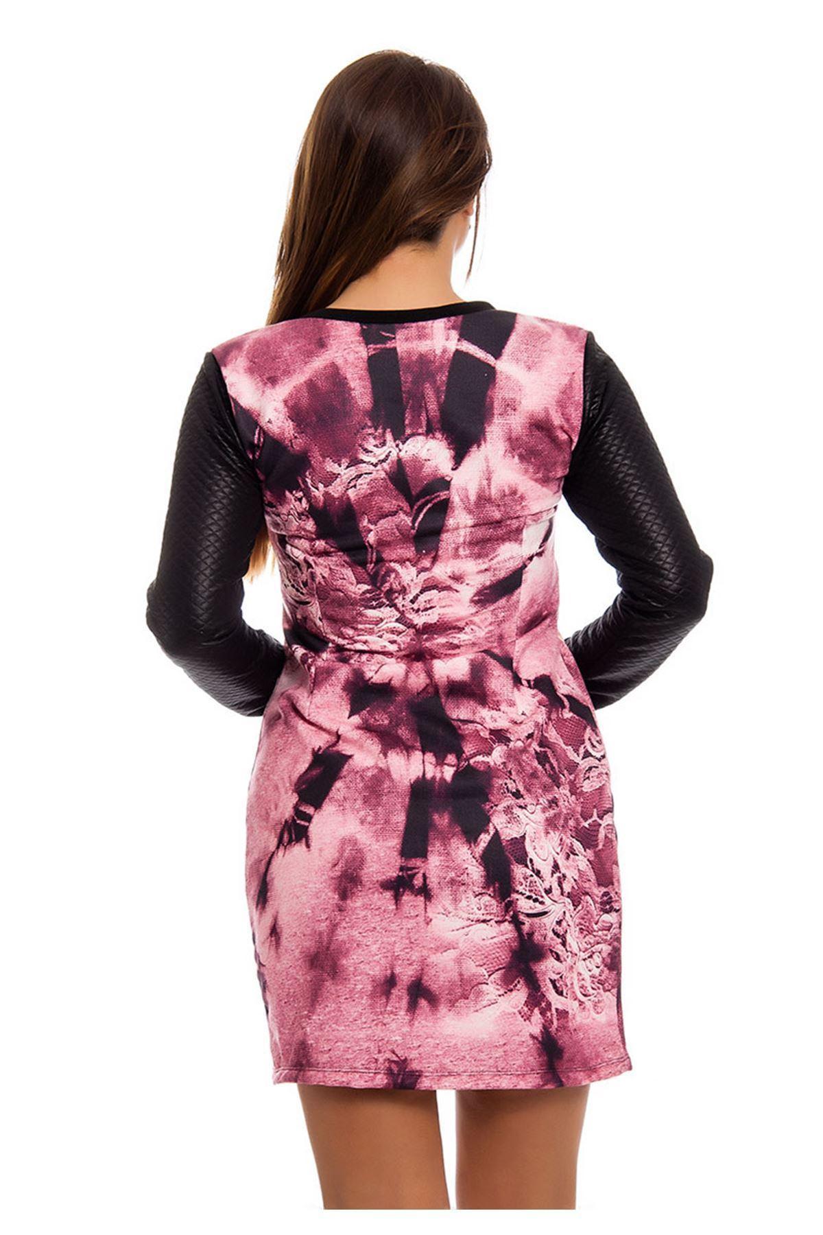 Kapitone Desenli Taş Detaylı Kadın Elbise H7-124569