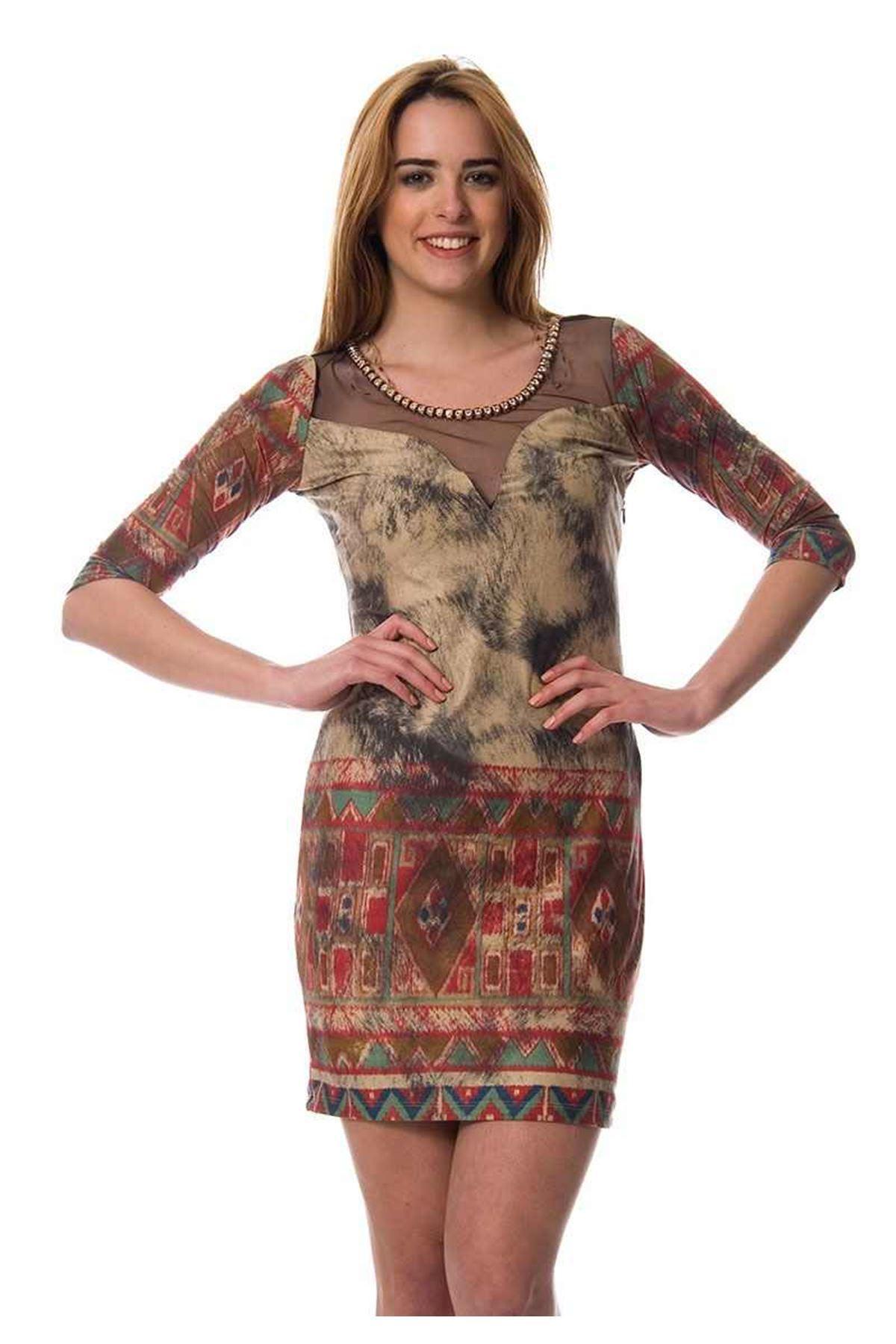 Kahverengi Taşlı Dekolte Elbise J11-105270
