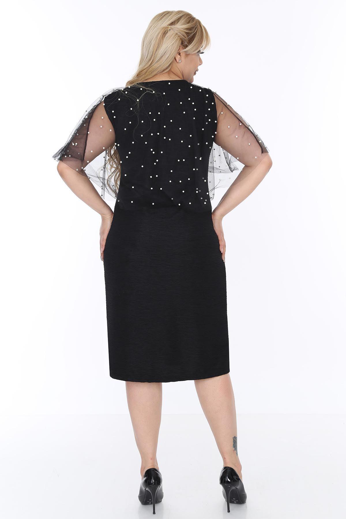 İncili Şallı Elbise 20L-0504