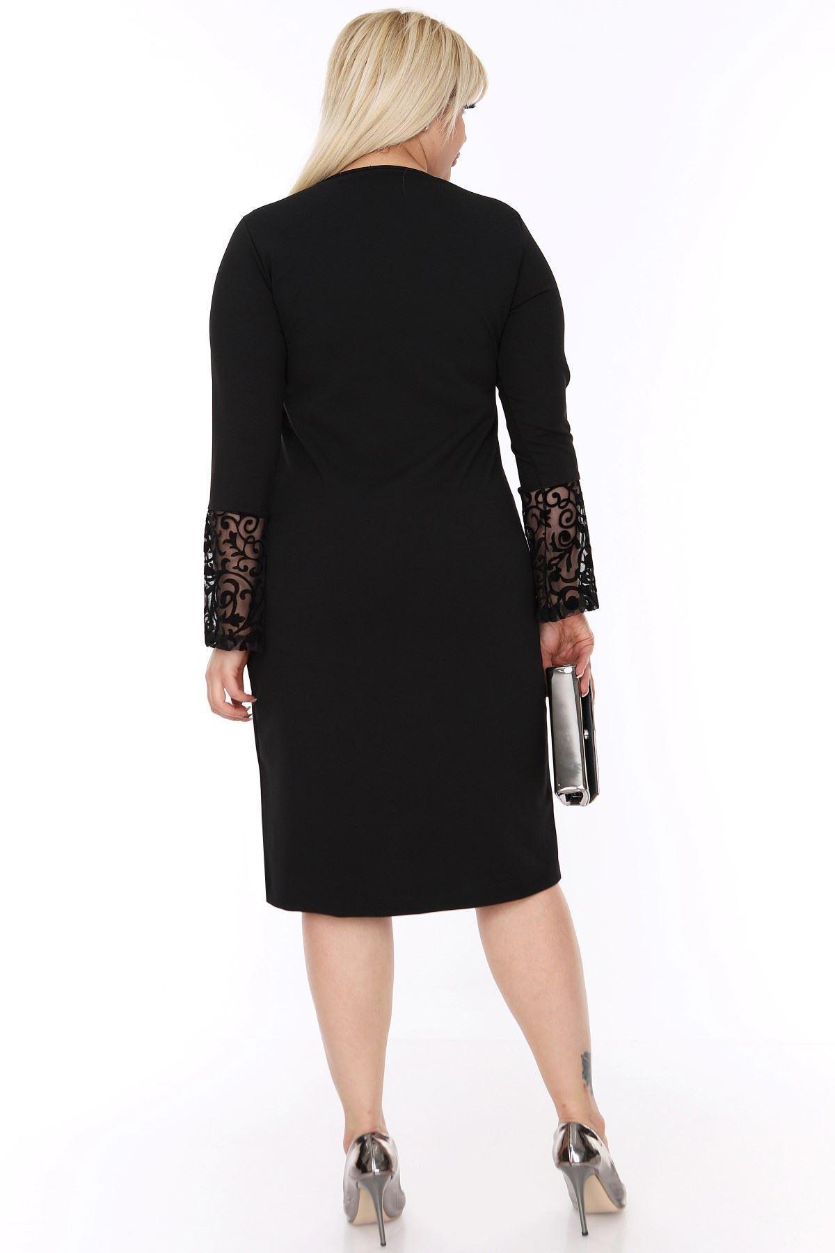 İspanyol Kol Siyah Elbise 4D-69249