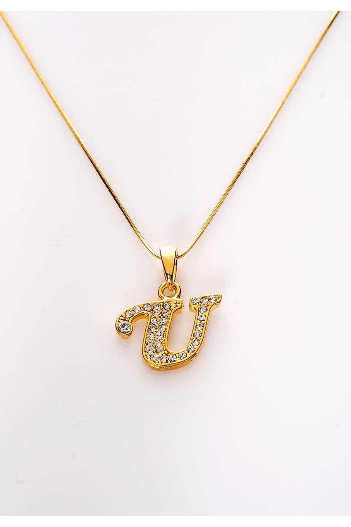 Gold Taşlı U Harf Kolye 11Ç-107857