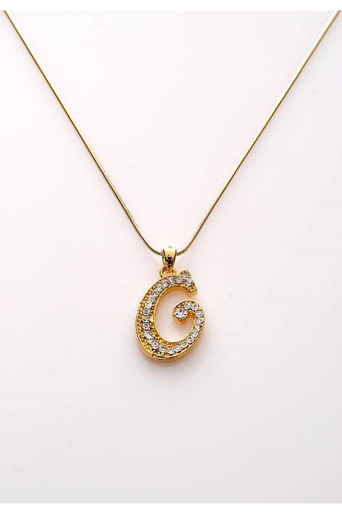 Gold Taşlı G Harf Kolye 11Ç-107847