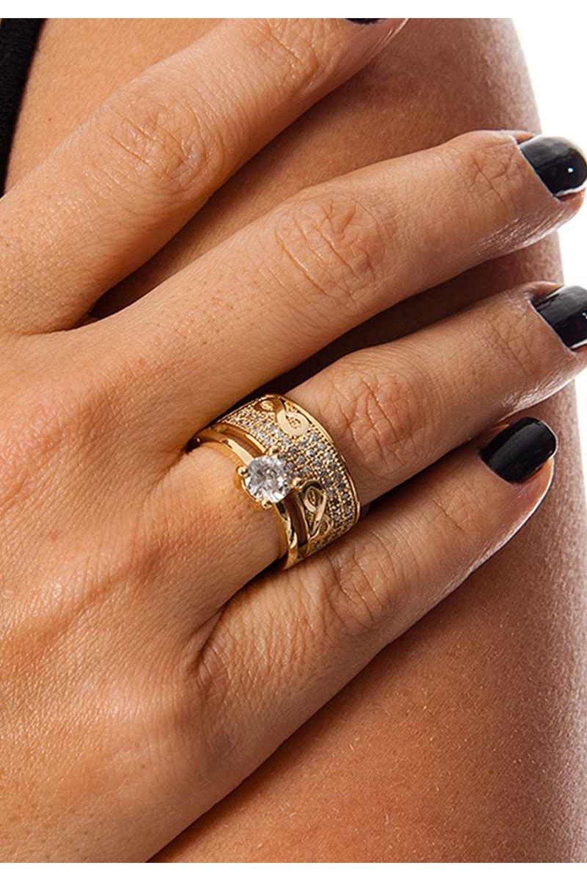Gold Alyanslı Tek Taş Yüzük 1Ç-109091