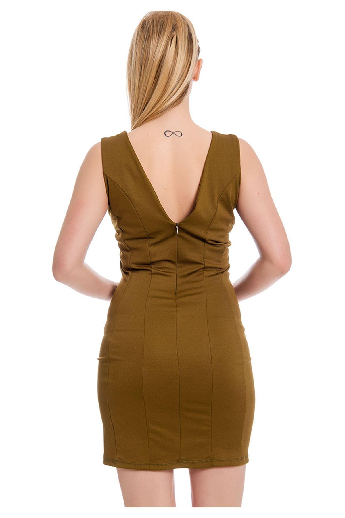 Fıstık Yeşili Elbise F6-127609