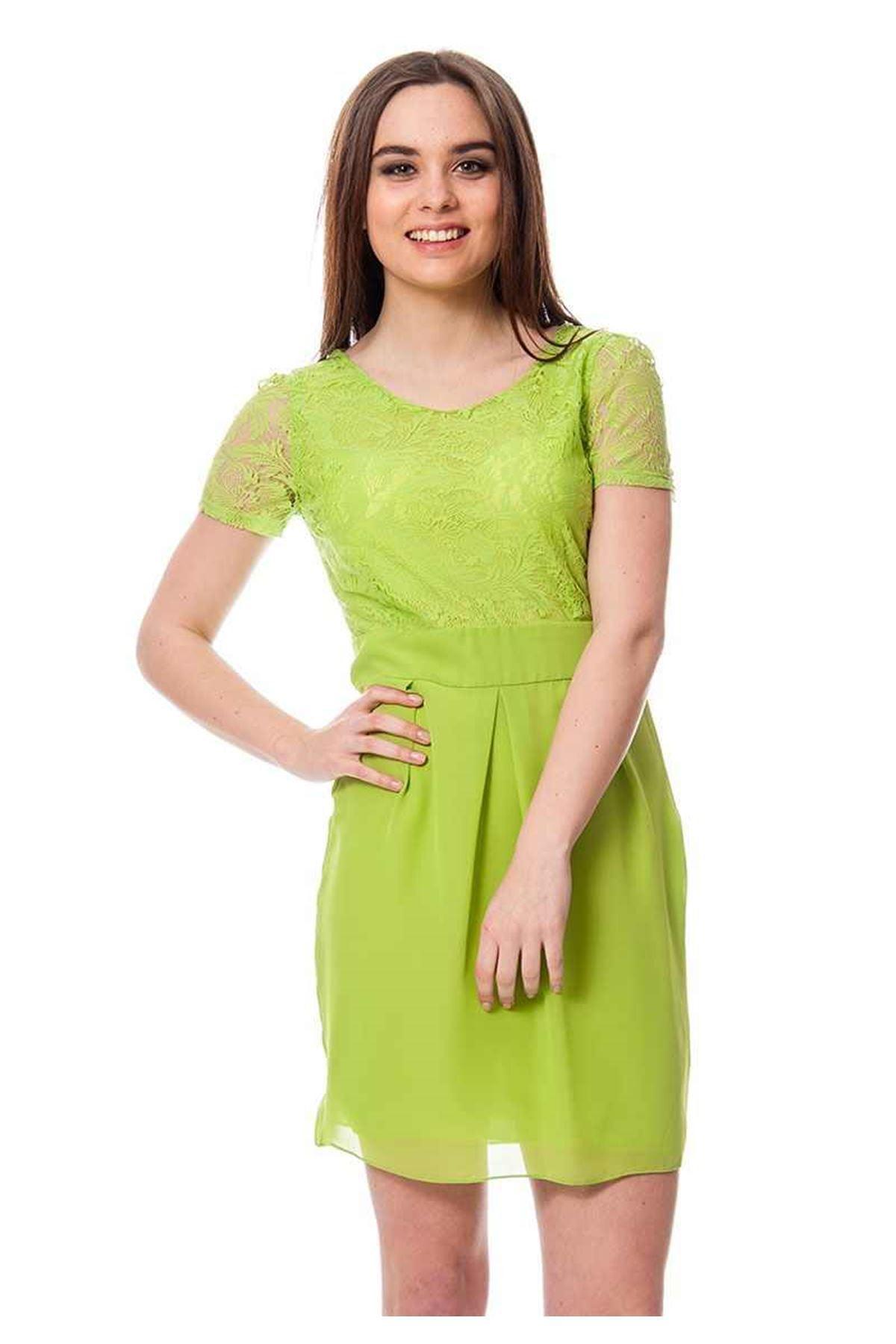Fıstık Yeşili Dantel Kadın Elbise H9-113802