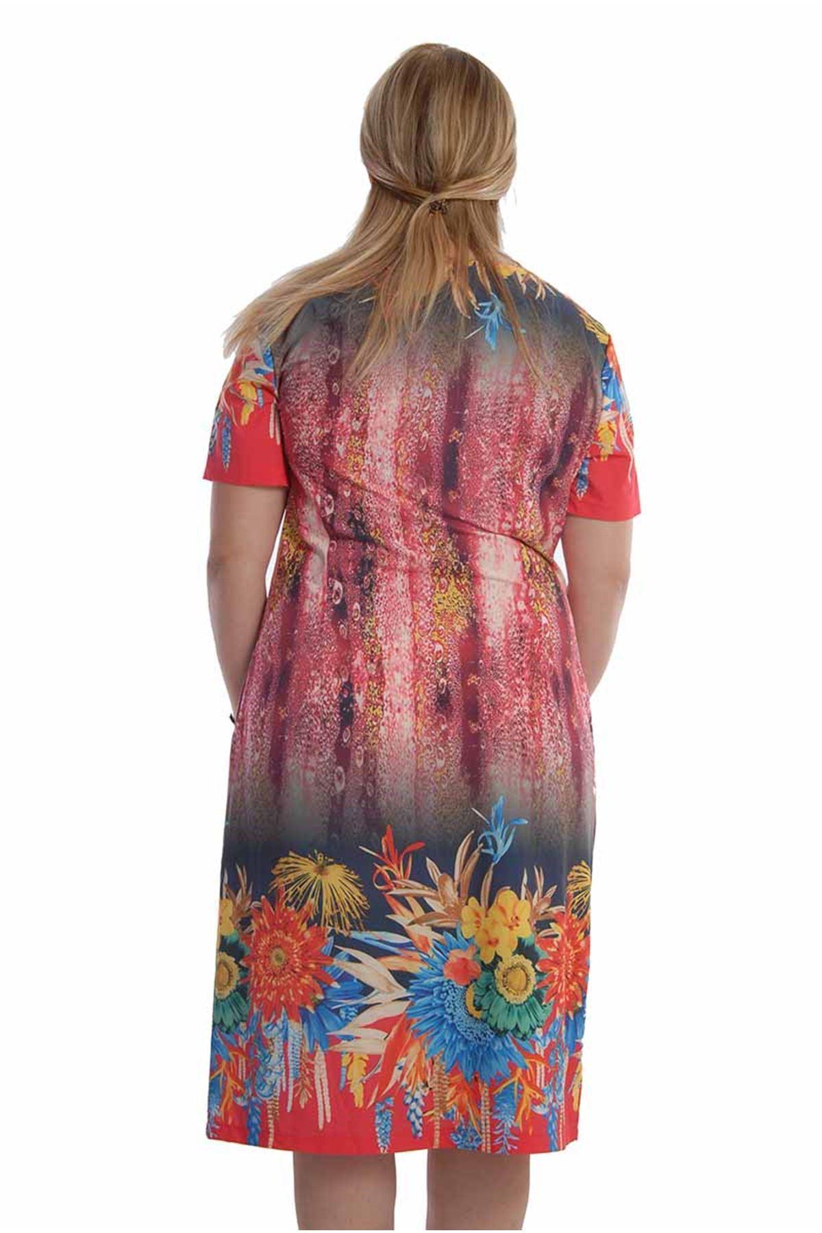 Desenli Yazlık Elbise F7-68243