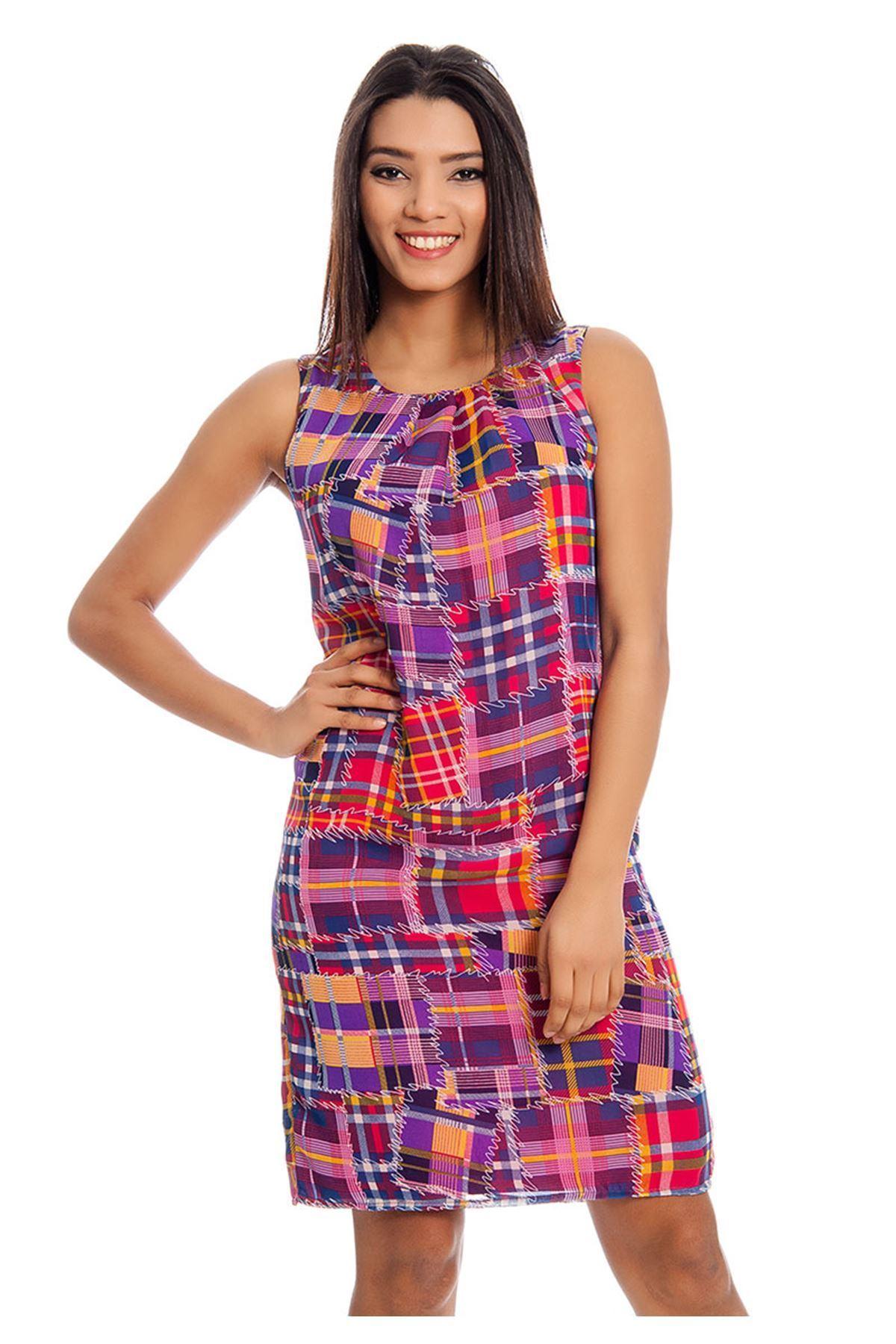 Desenli Kadın Elbise J10-129098